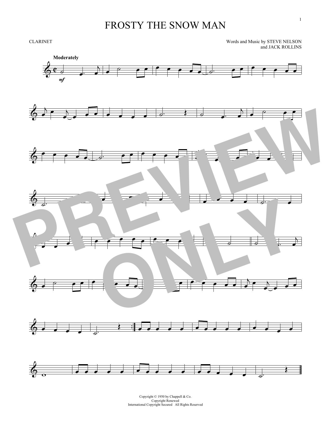 Partition clarinette Frosty The Snowman de Gene Autry - Clarinette