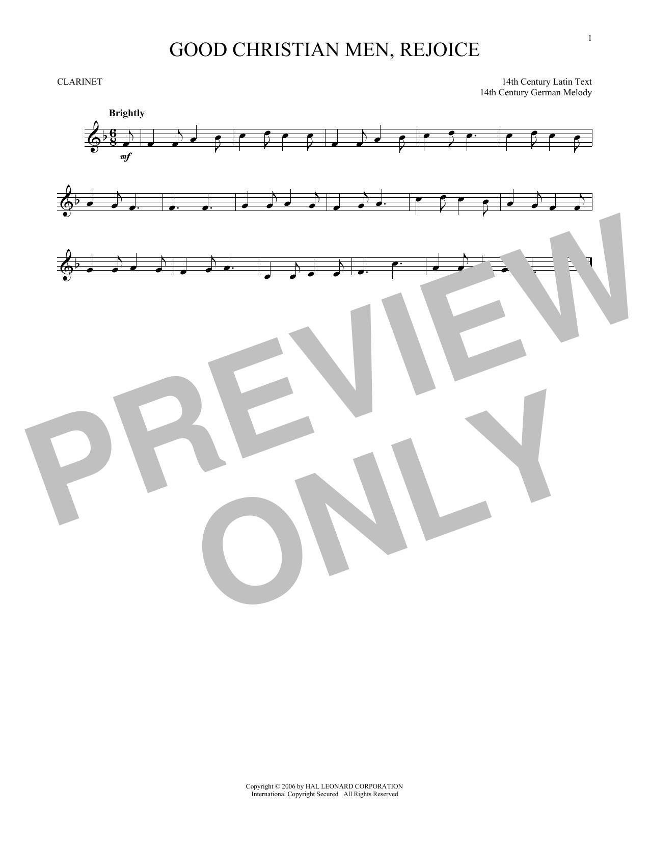 Partition clarinette Good Christian Men, Rejoice de Christmas Carol - Clarinette