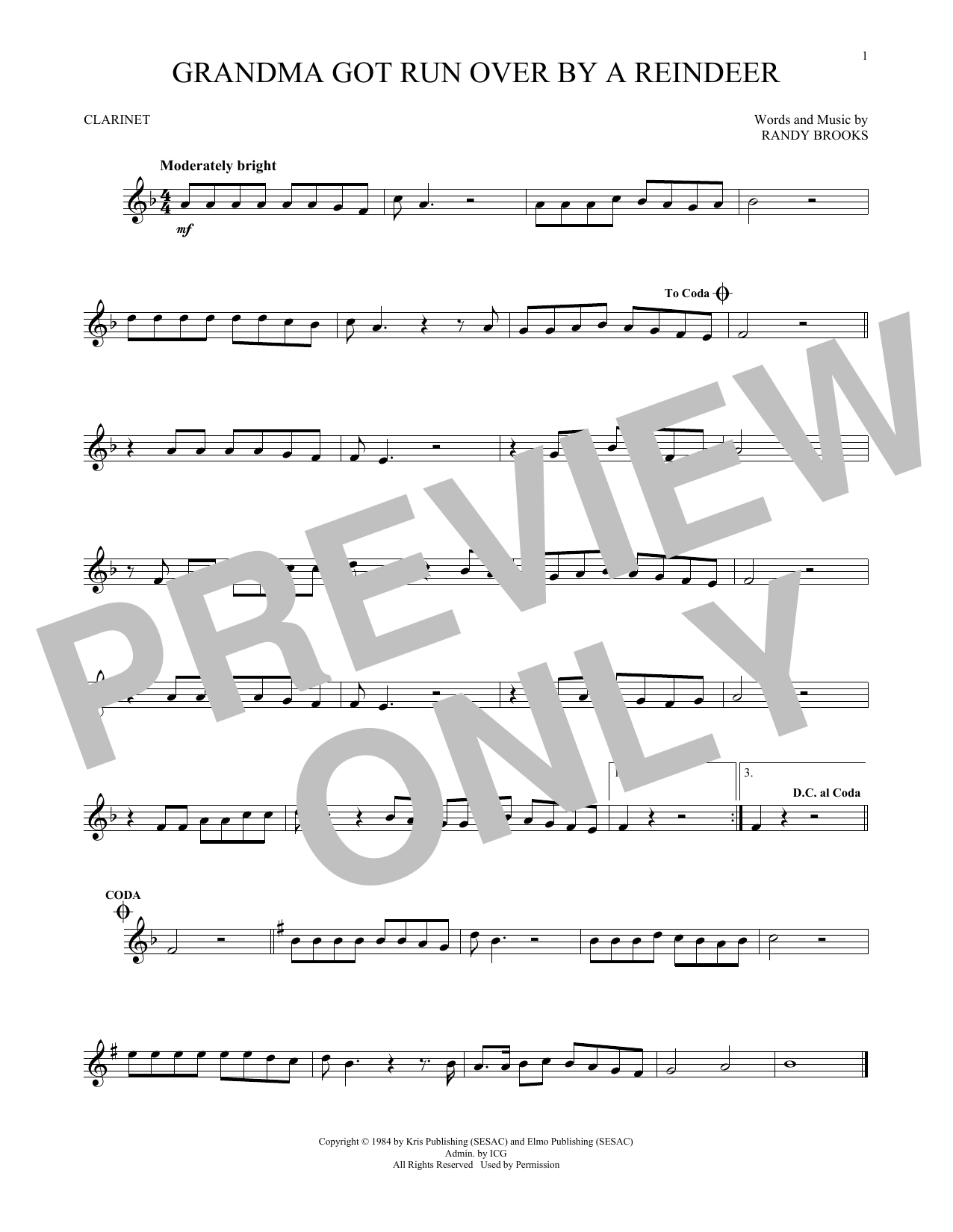 Partition clarinette Grandma Got Run Over By A Reindeer de Randy Brooks - Clarinette