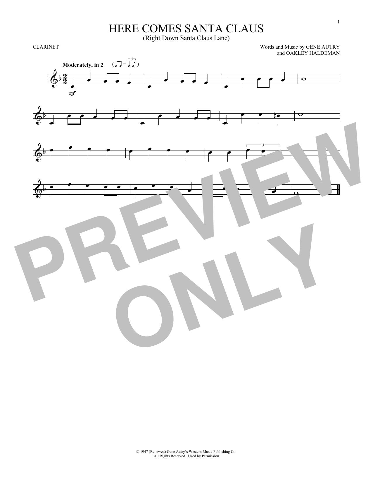 Partition clarinette Here Comes Santa Claus (Right Down Santa Claus Lane) de Gene Autry - Clarinette