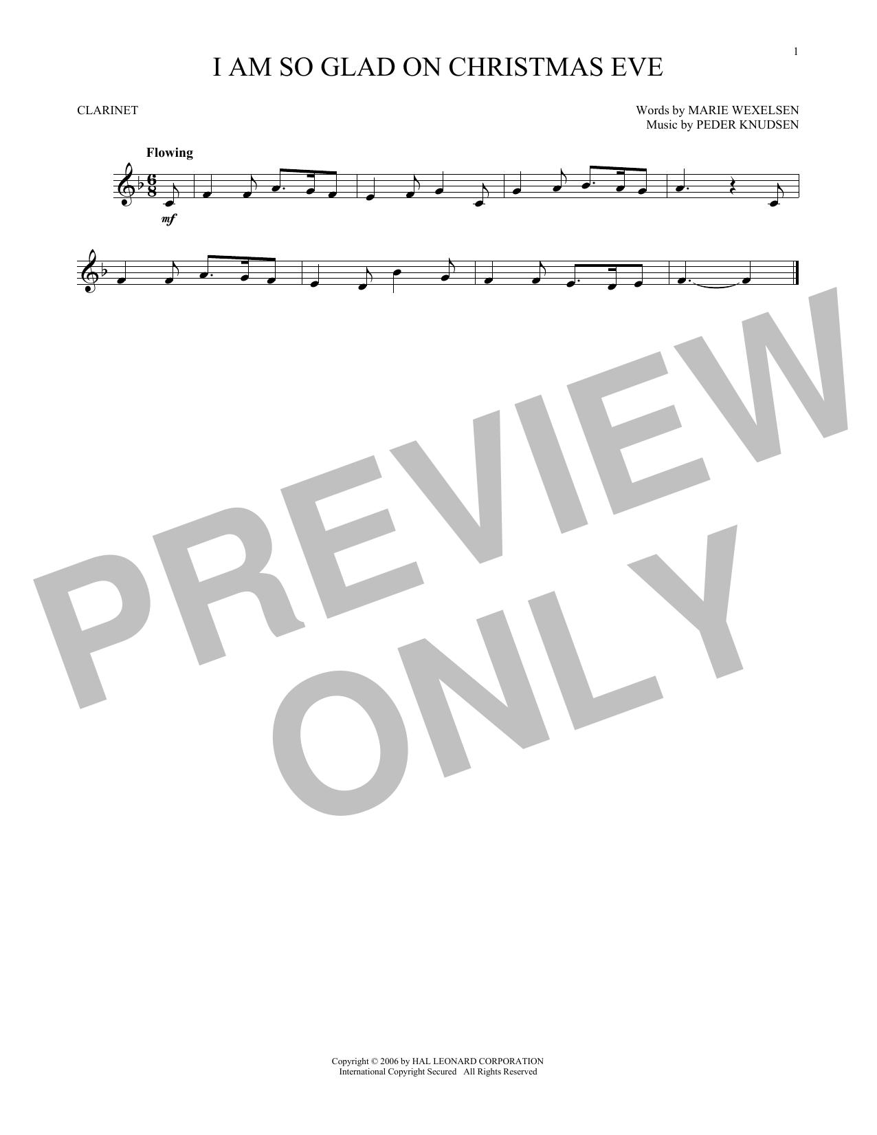 Partition clarinette I Am So Glad On Christmas Eve de Peder Knudsen - Clarinette