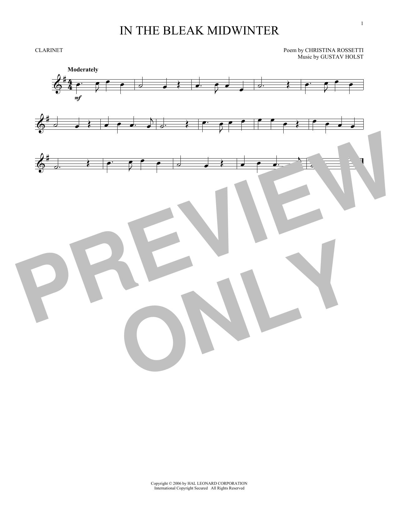 Partition clarinette In The Bleak Midwinter de Christina Rossetti - Clarinette