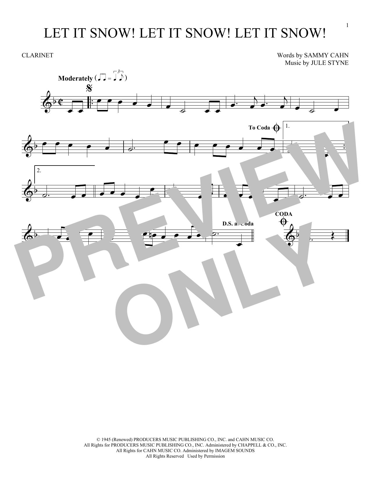 Partition clarinette Let It Snow! Let It Snow! Let It Snow! de Sammy Cahn - Clarinette