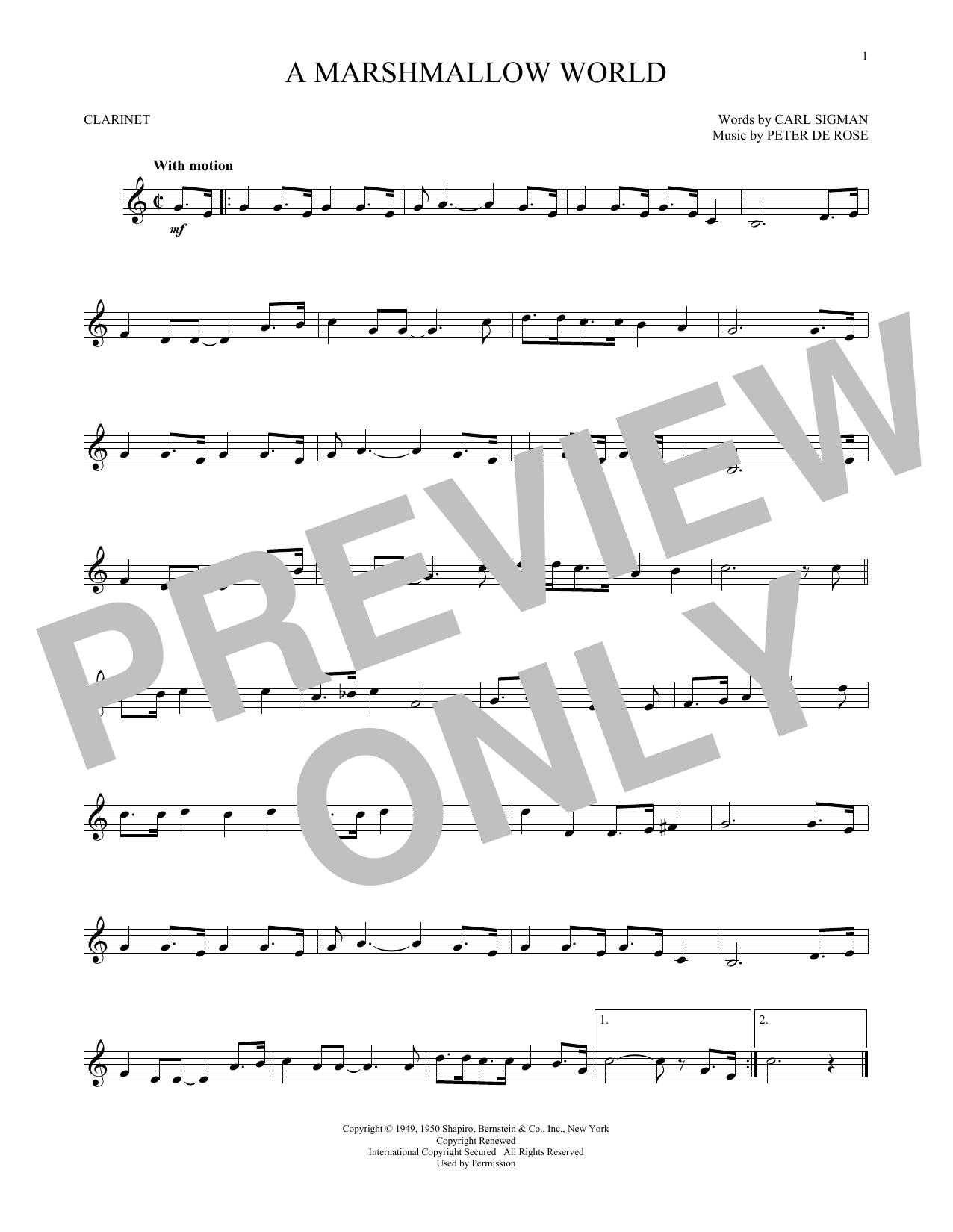 Partition clarinette A Marshmallow World de Carl Sigman - Clarinette