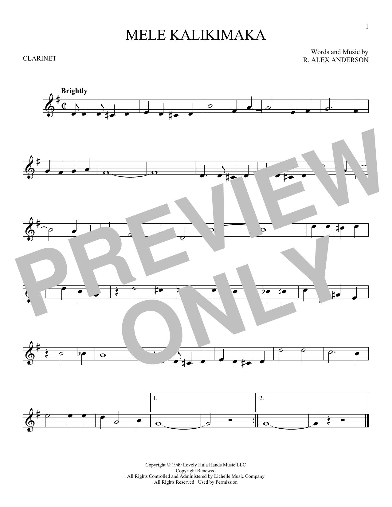 Partition clarinette Mele Kalikimaka de Bing Crosby - Clarinette