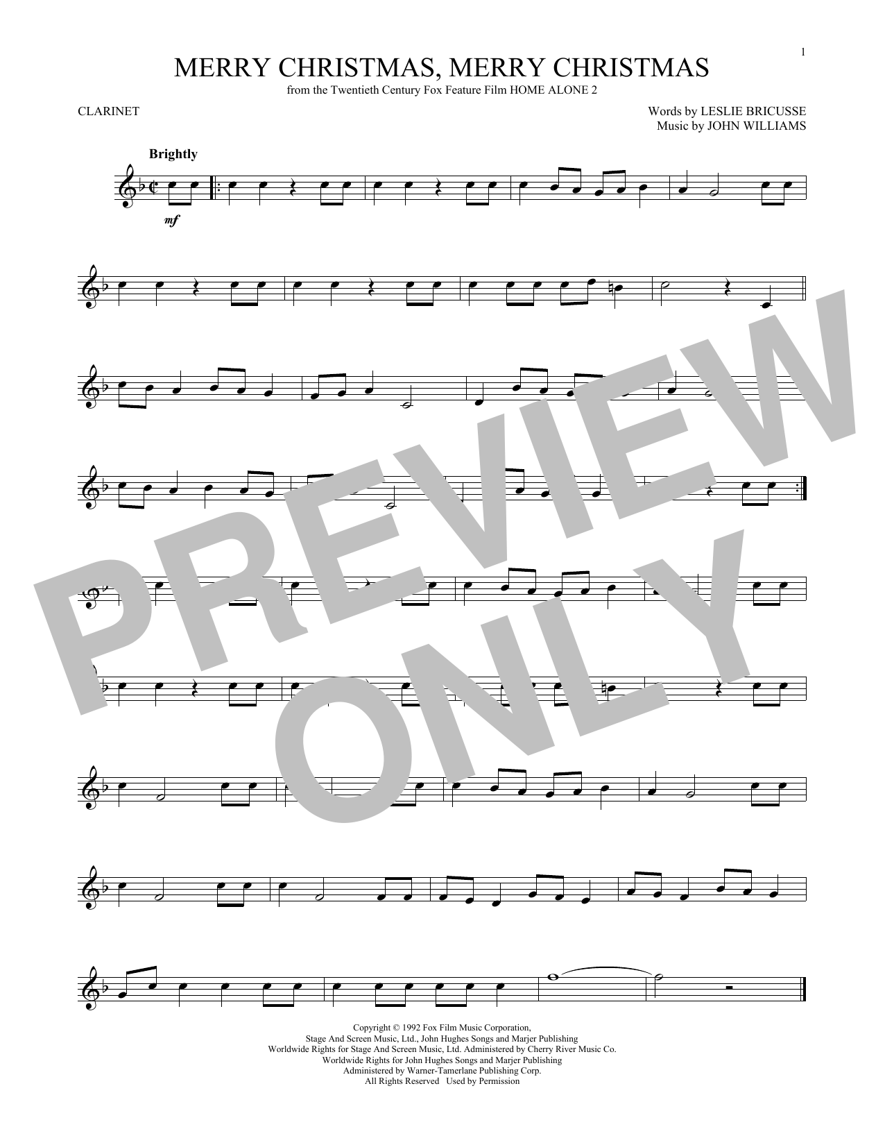 Partition clarinette Merry Christmas, Merry Christmas de John Williams - Clarinette