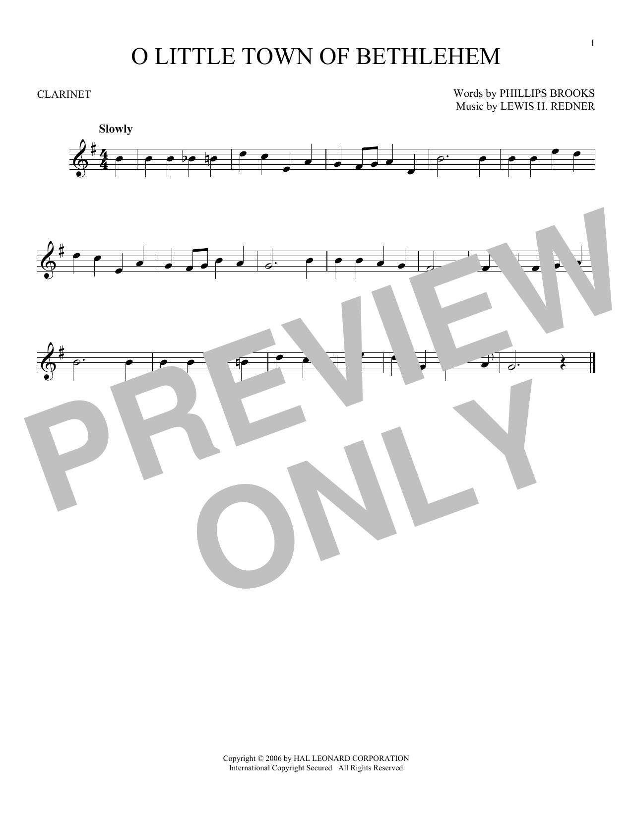 Partition clarinette O Little Town Of Bethlehem de Phillips Brooks - Clarinette