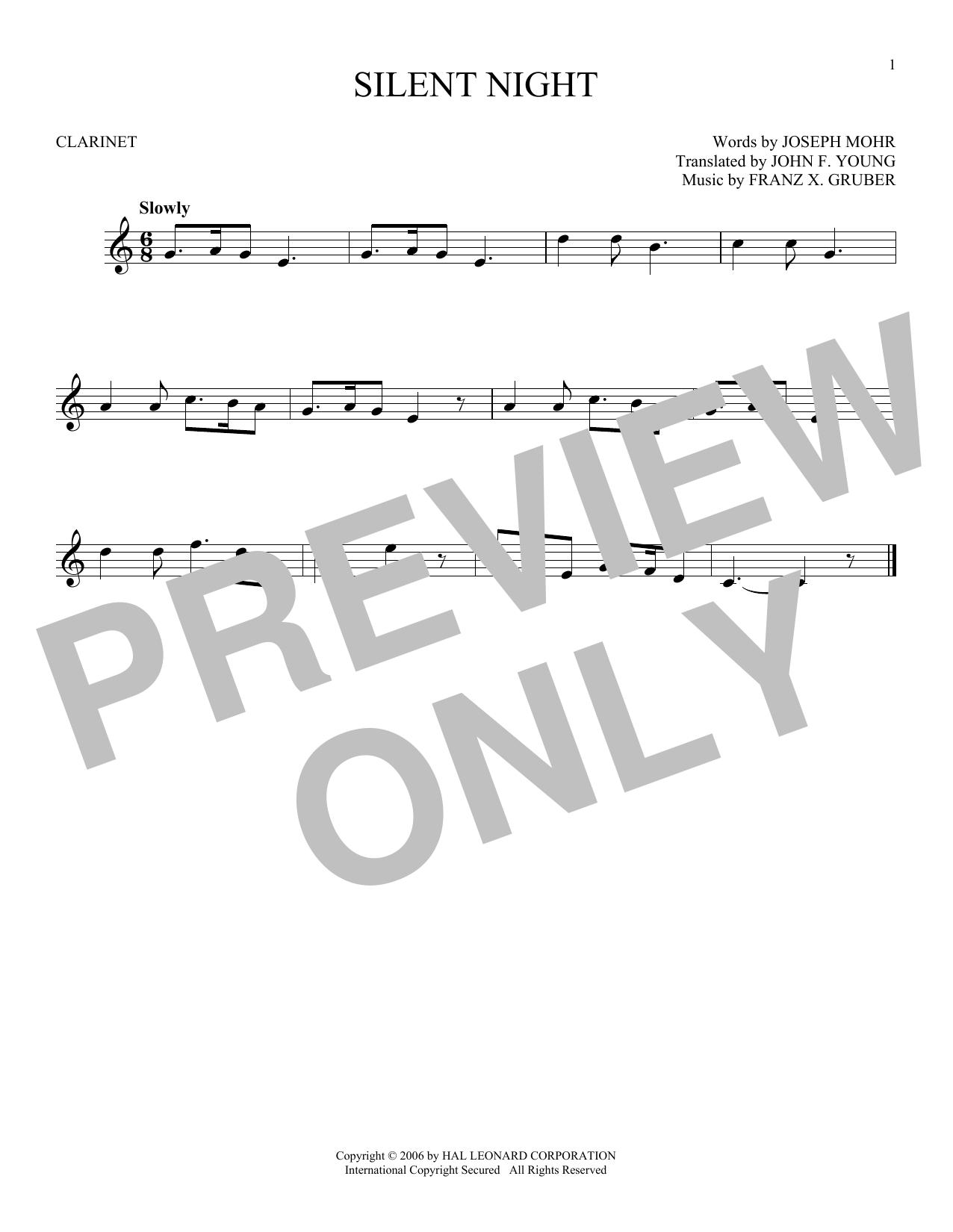 Partition clarinette Silent Night de Franz X. Gruber - Clarinette