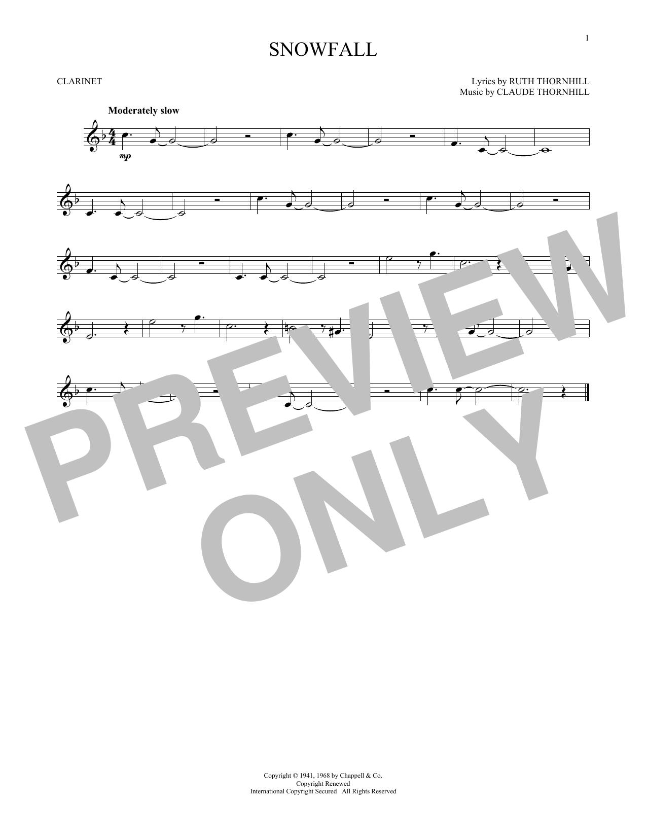 Partition clarinette Snowfall de Claude & Ruth Thornhill - Clarinette
