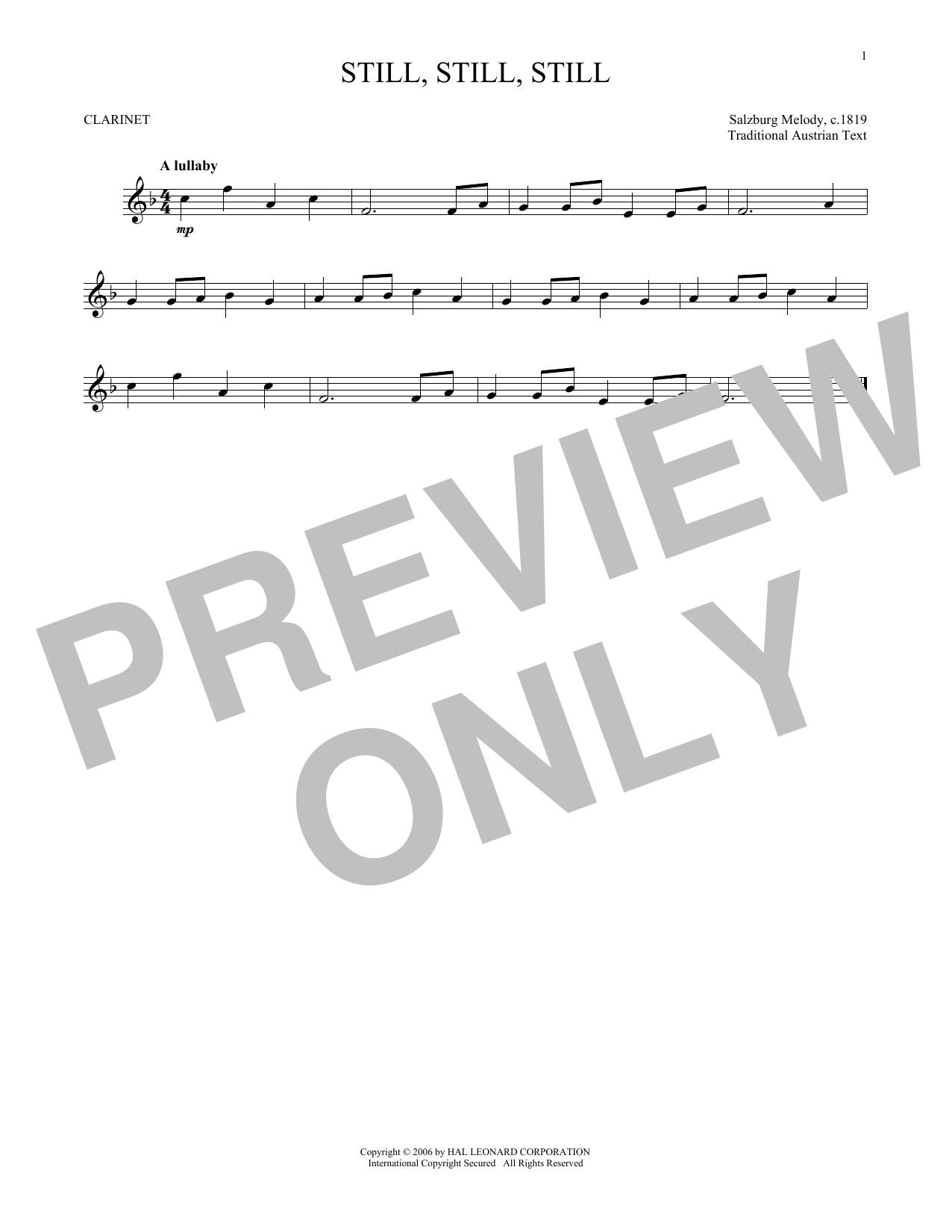 Partition clarinette Still, Still, Still de Traditional - Clarinette