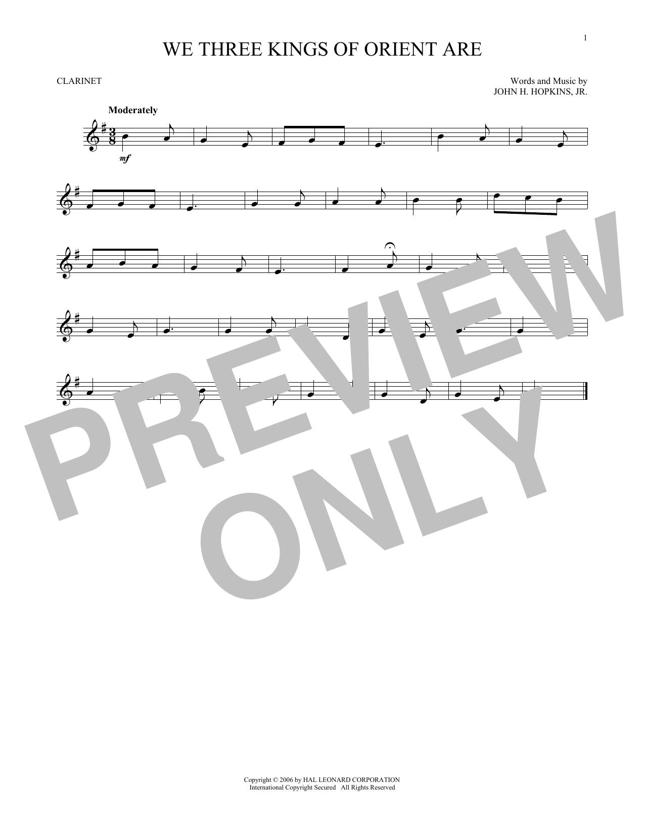 Partition clarinette We Three Kings Of Orient Are de John H. Hopkins, Jr. - Clarinette