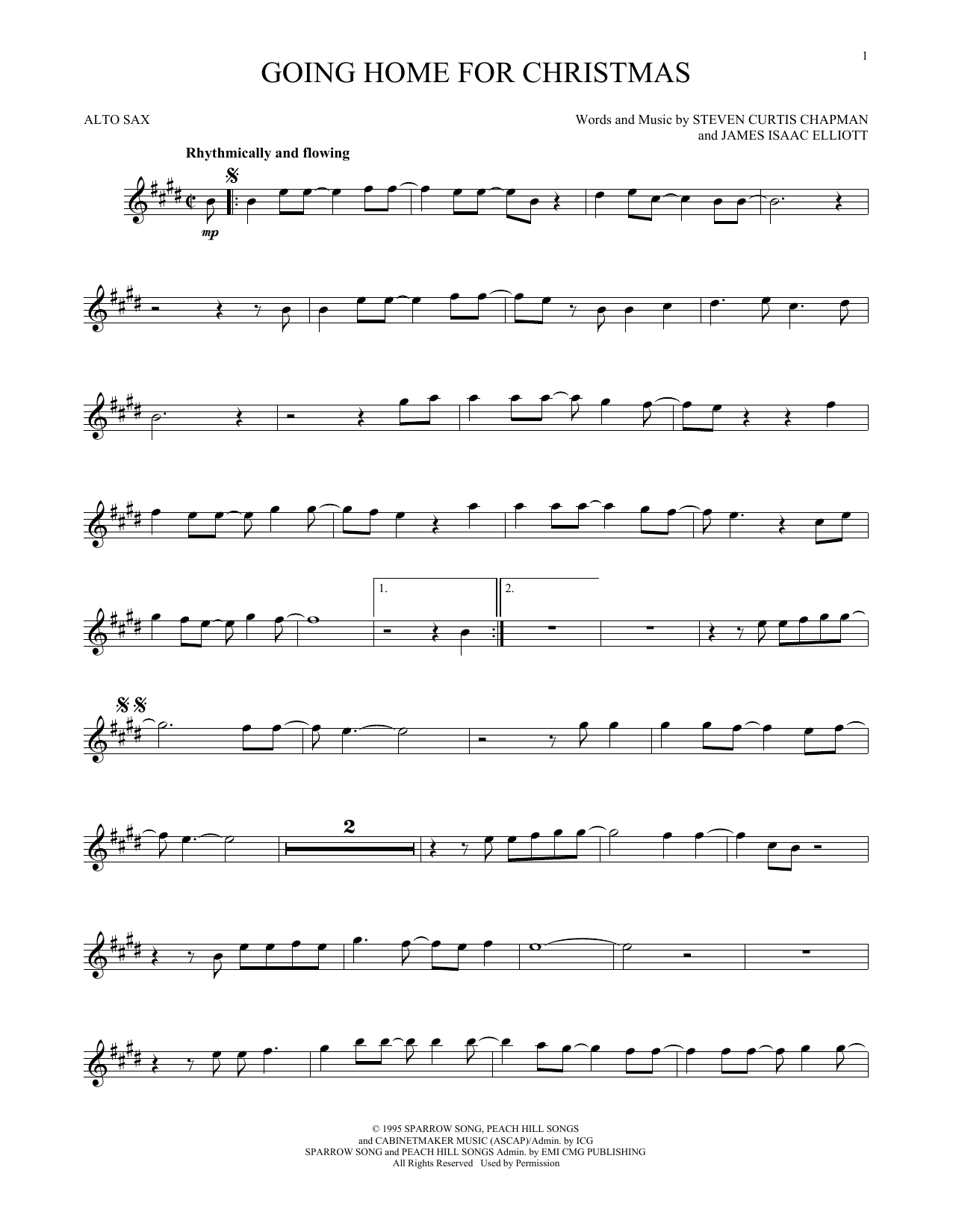 Partition saxophone Going Home For Christmas de Steven Curtis Chapman - Sax Alto