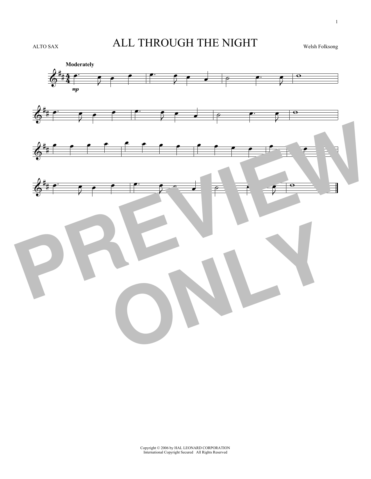Partition saxophone All Through The Night de Welsh Folksong - Sax Alto