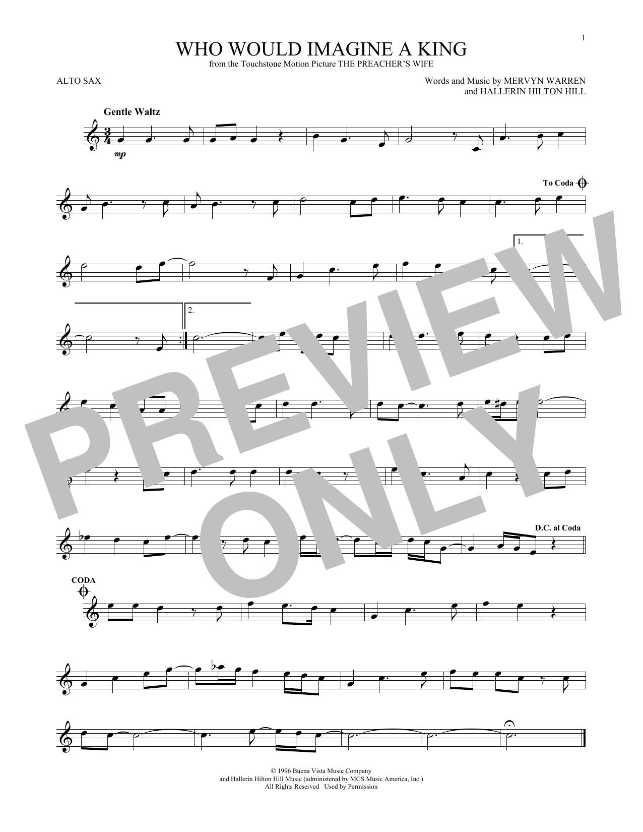 Partition saxophone Who Would Imagine A King de Whitney Houston - Sax Alto