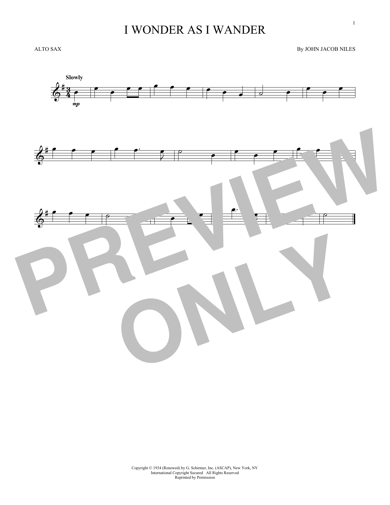 Partition saxophone I Wonder As I Wander de John Jacob Niles - Sax Alto