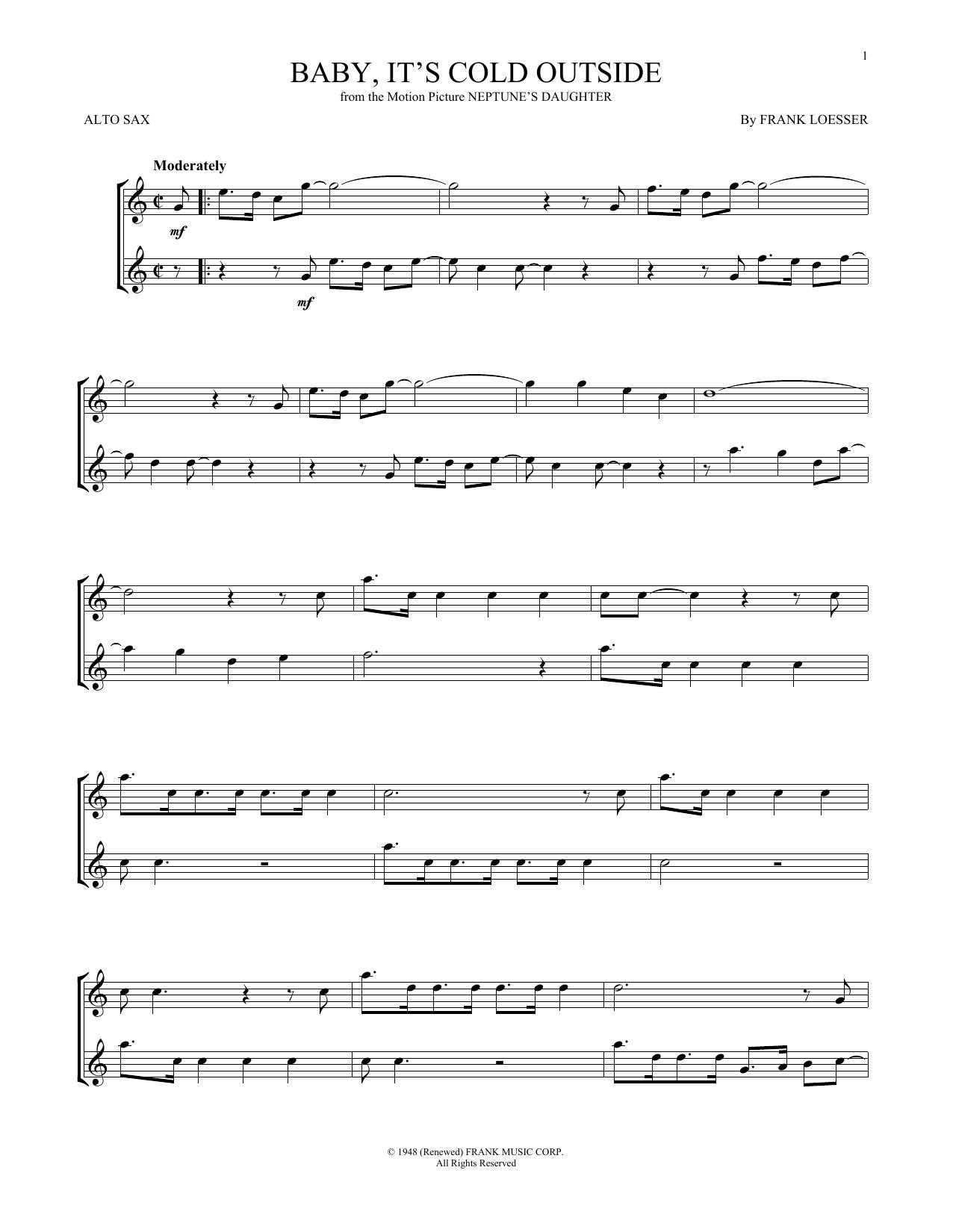 Partition saxophone Baby, It's Cold Outside de Frank Loesser - Sax Alto