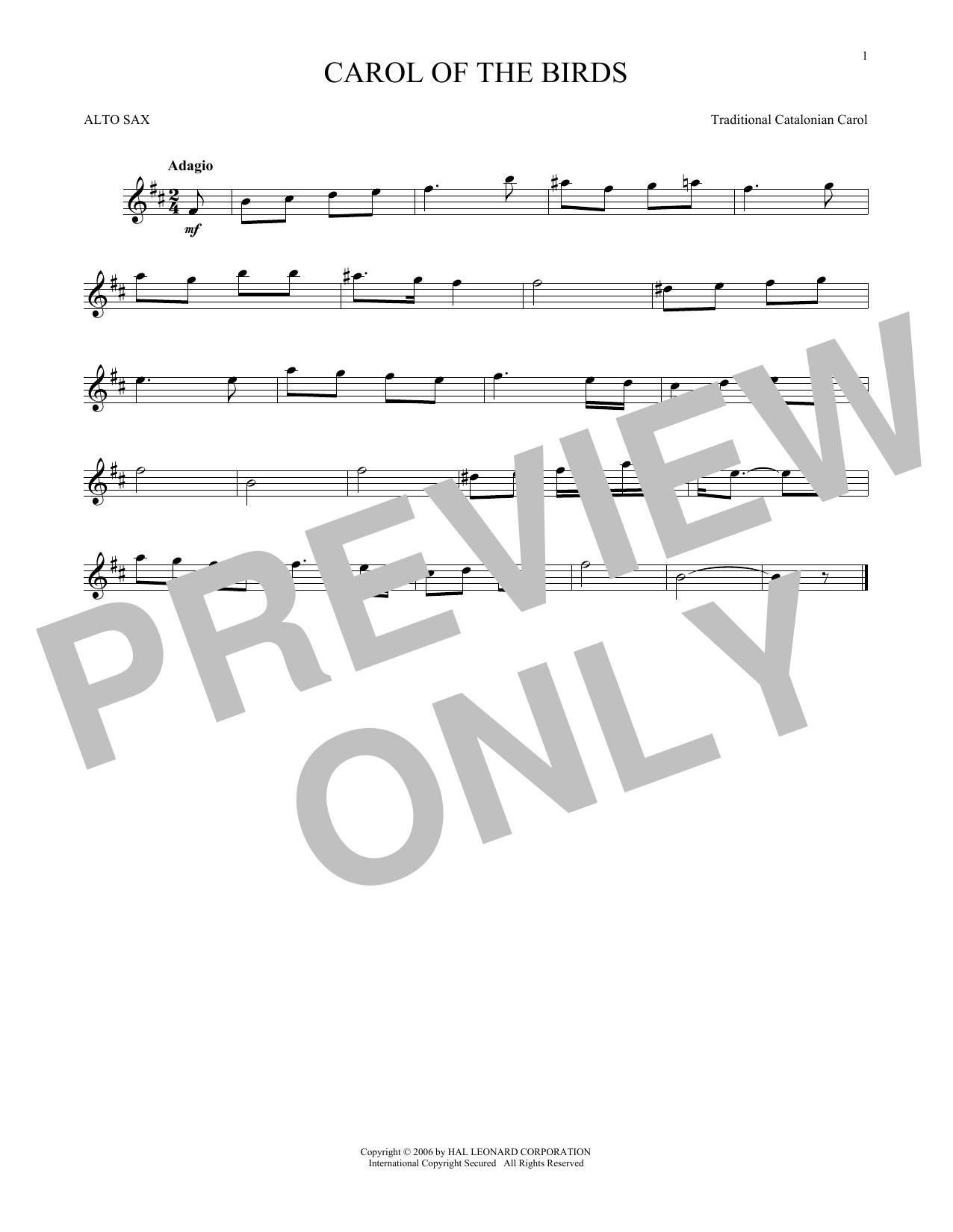 Partition saxophone Carol Of The Birds de Traditional Catalonian Carol - Sax Alto
