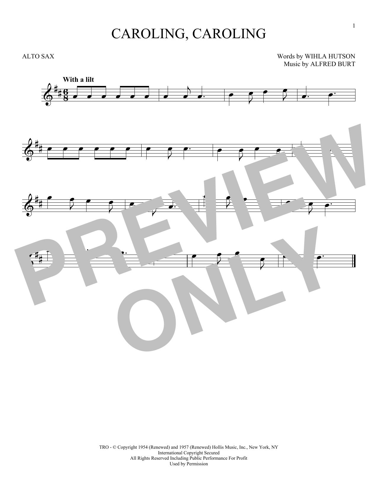 Partition saxophone Caroling, Caroling de Alfred Burt - Sax Alto