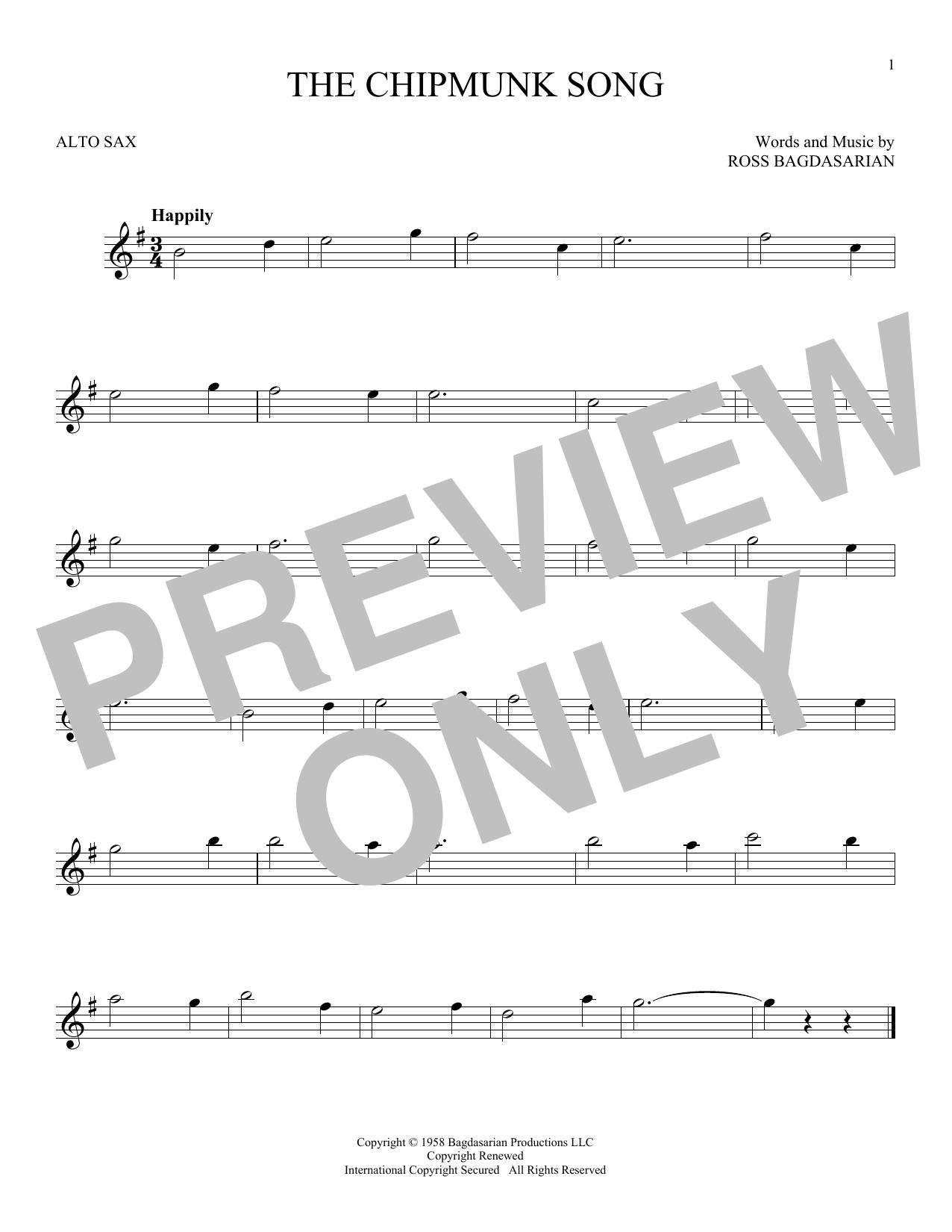Partition saxophone The Chipmunk Song de Ross Bagdasarian - Sax Alto