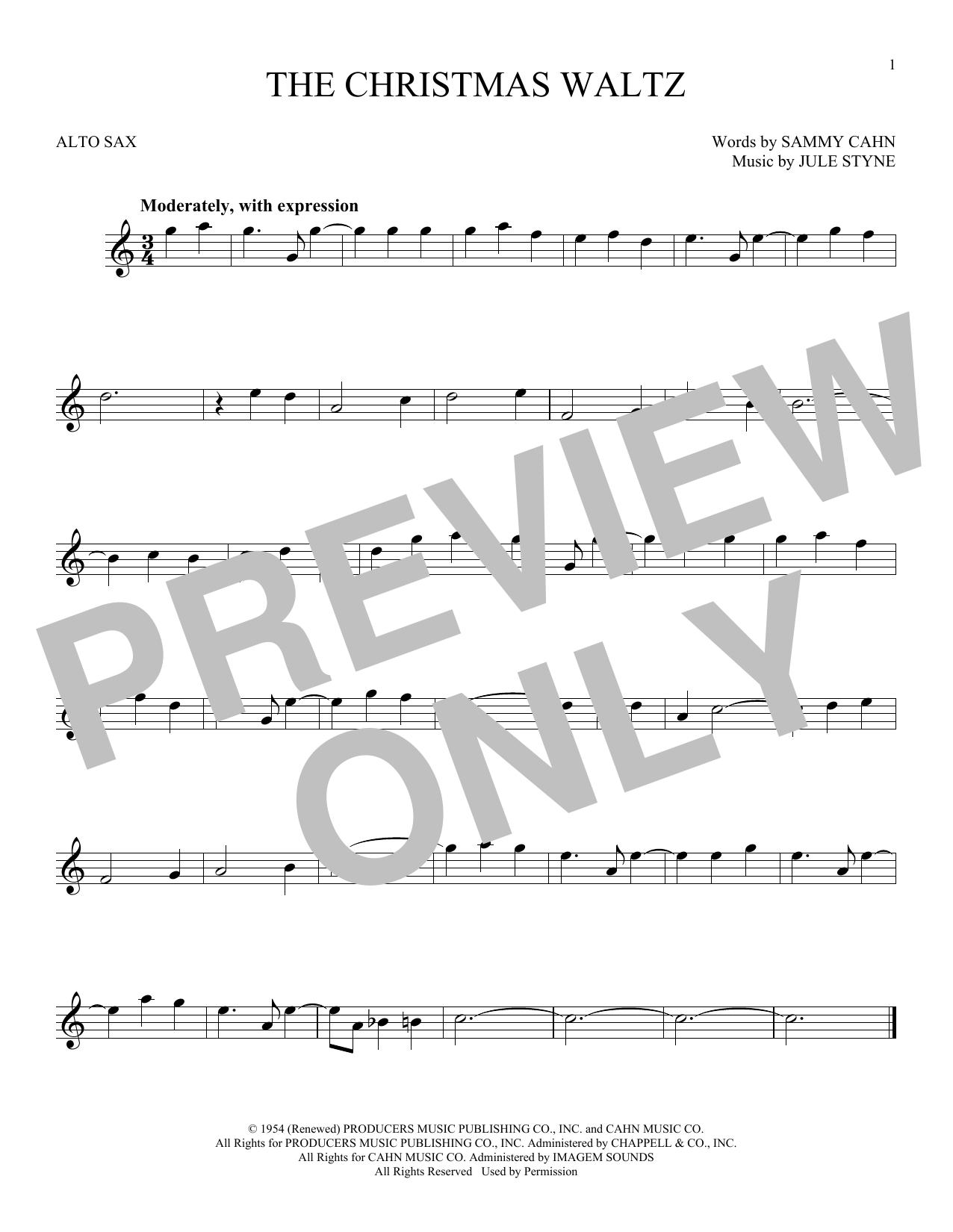Partition saxophone The Christmas Waltz de Frank Sinatra - Sax Alto