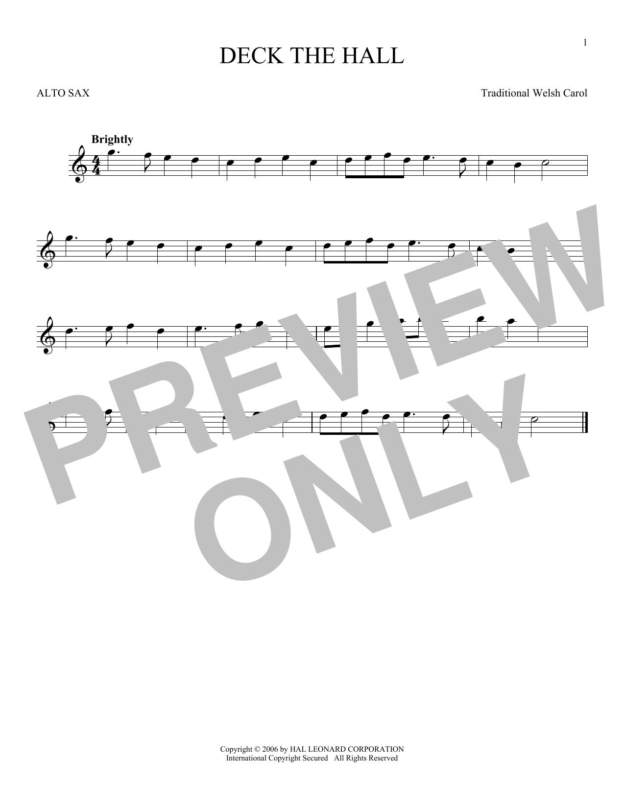 Partition saxophone Deck The Hall de Christmas Carol - Sax Alto