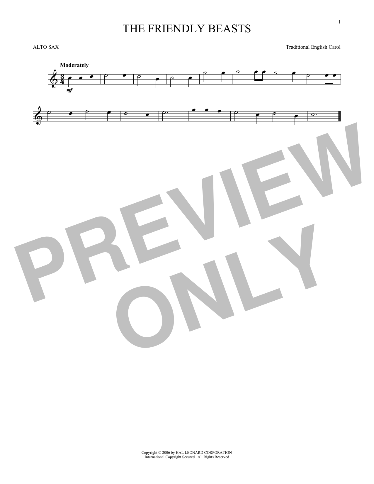 Partition saxophone The Friendly Beasts de Traditional English Carol - Sax Alto
