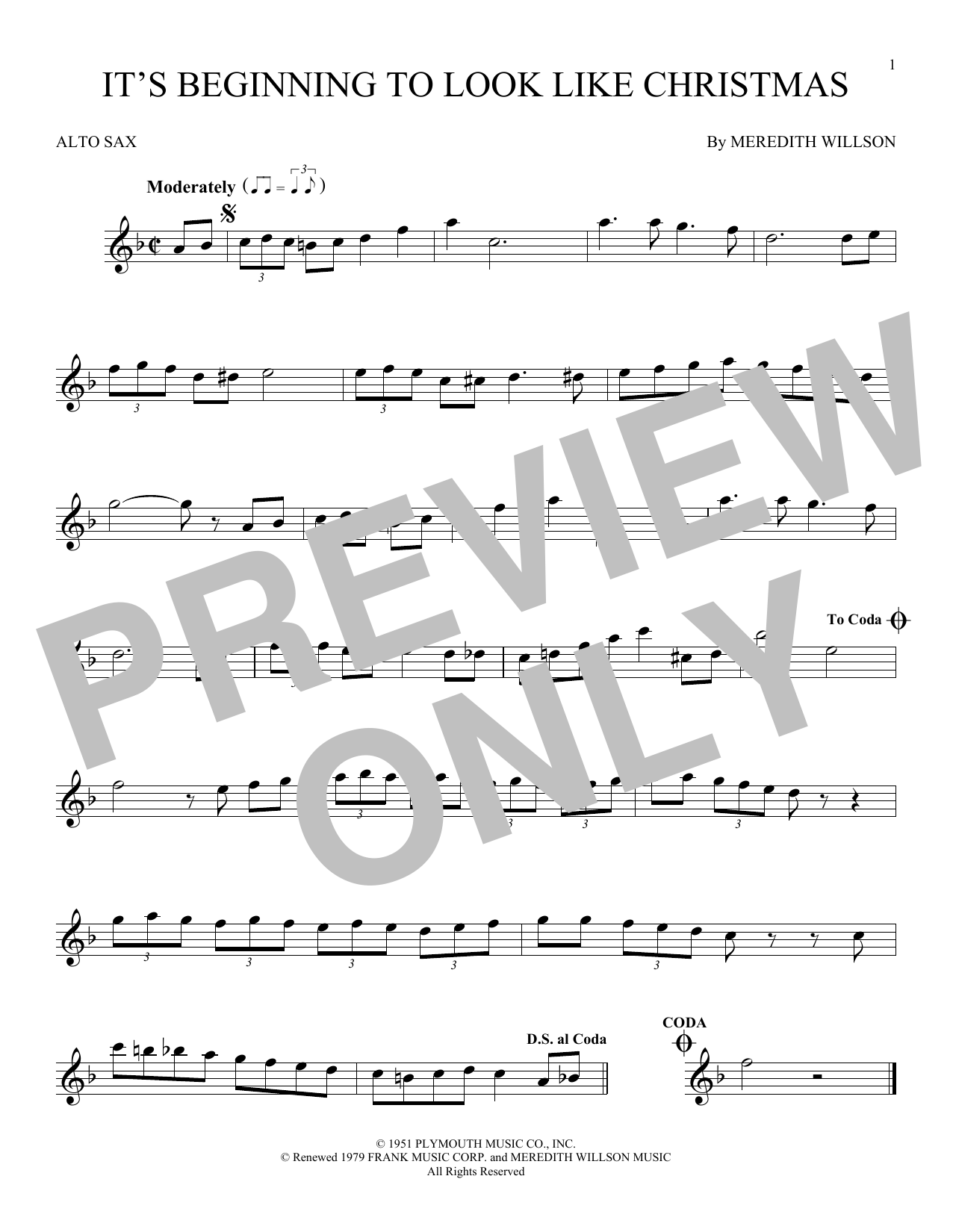 Partition saxophone It's Beginning To Look Like Christmas de Meredith Willson - Sax Alto