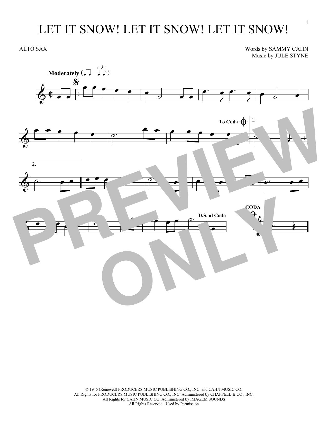 Partition saxophone Let It Snow! Let It Snow! Let It Snow! de Sammy Cahn - Sax Alto