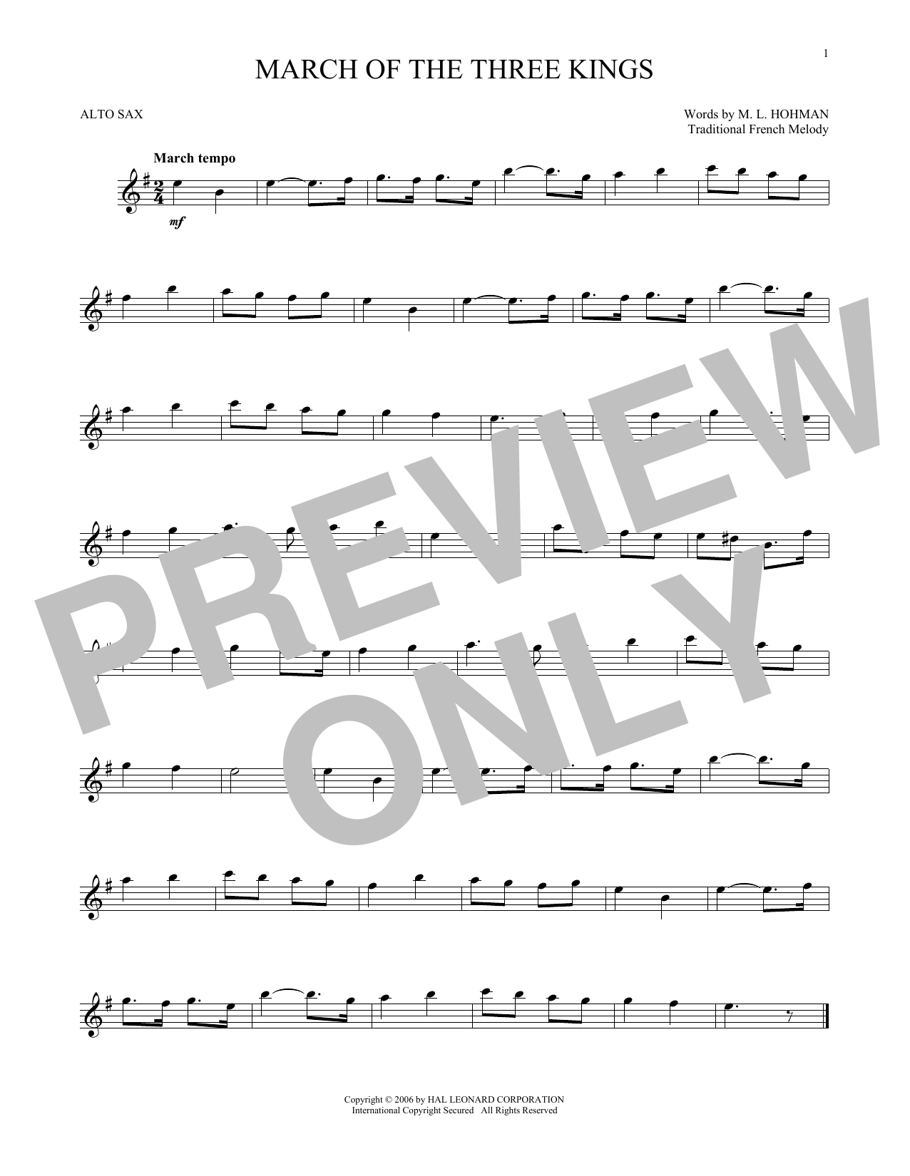 Partition saxophone March Of The Three Kings de Traditional - Sax Alto