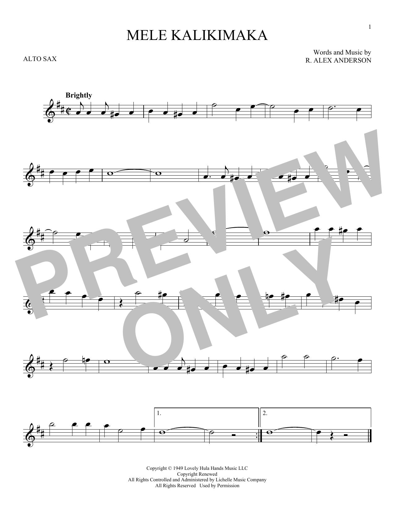 Partition saxophone Mele Kalikimaka de Bing Crosby - Sax Alto