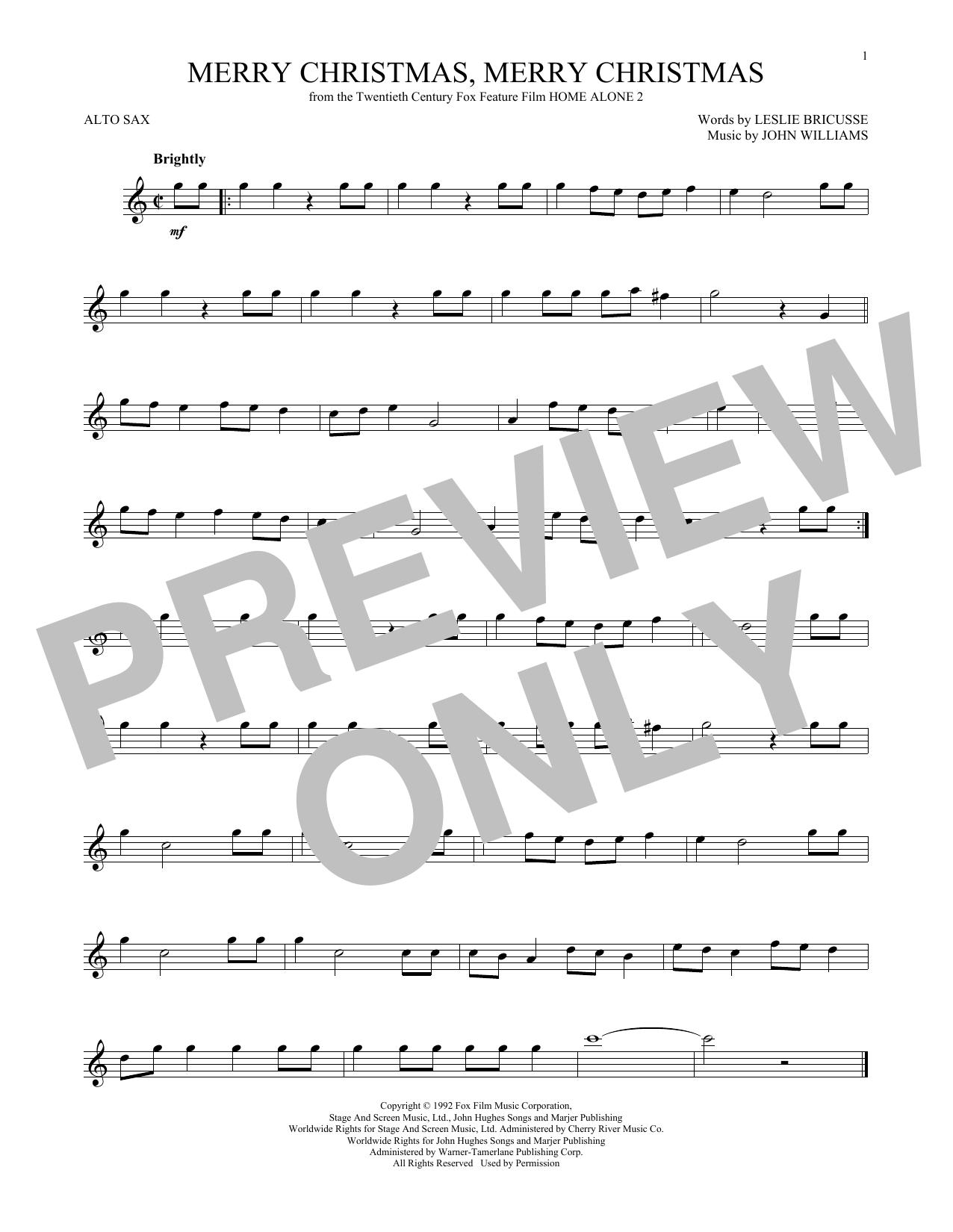 Partition saxophone Merry Christmas, Merry Christmas de John Williams - Sax Alto