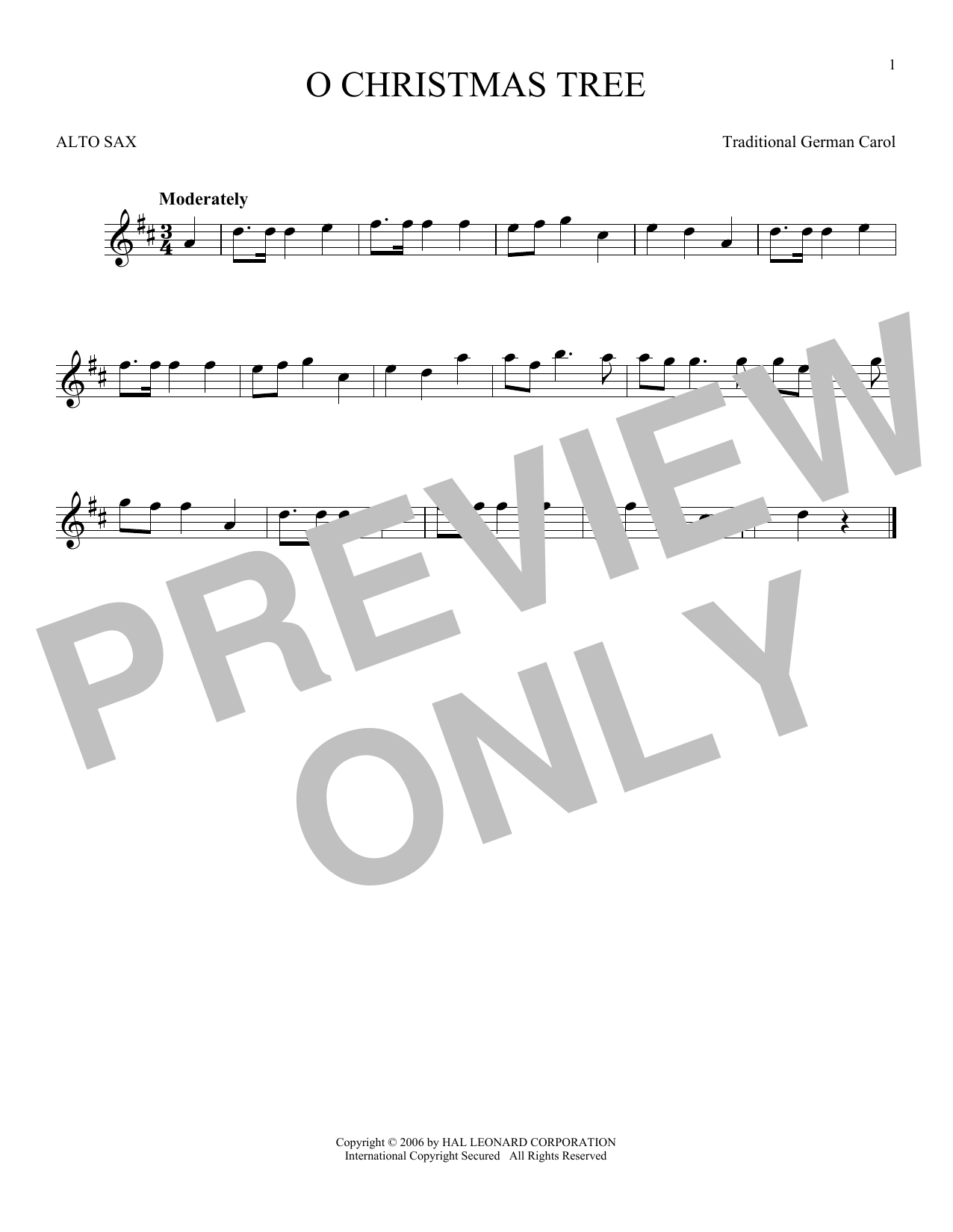 Partition saxophone O Christmas Tree de Traditional German Carol - Sax Alto