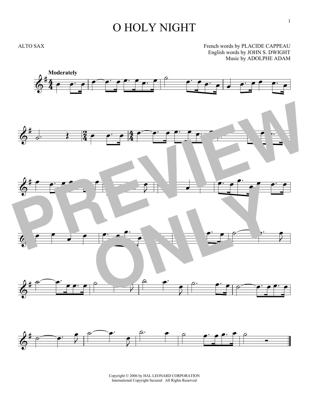 Partition saxophone O Holy Night de Adolphe Adam - Sax Alto