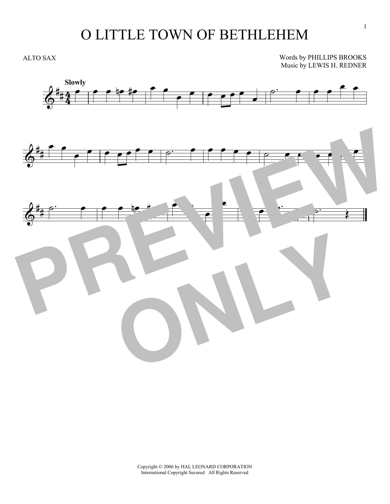 Partition saxophone O Little Town Of Bethlehem de Phillips Brooks - Sax Alto