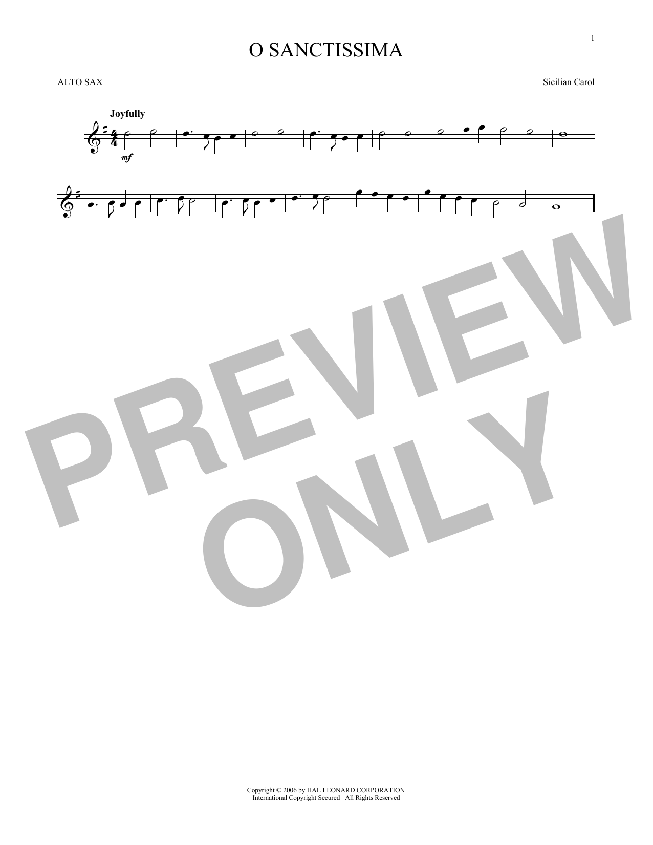 Partition saxophone O Sanctissima de Traditional Carol - Sax Alto