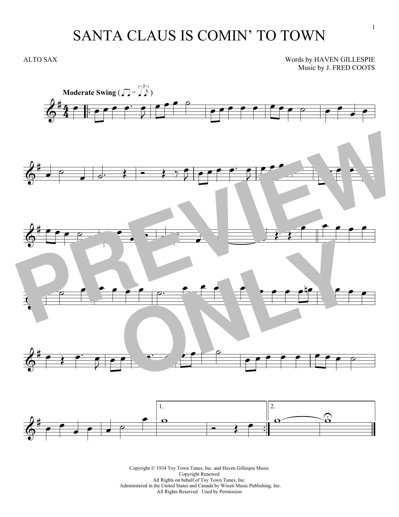 Partition saxophone Santa Claus Is Comin' To Town de J. Fred Coots - Sax Alto