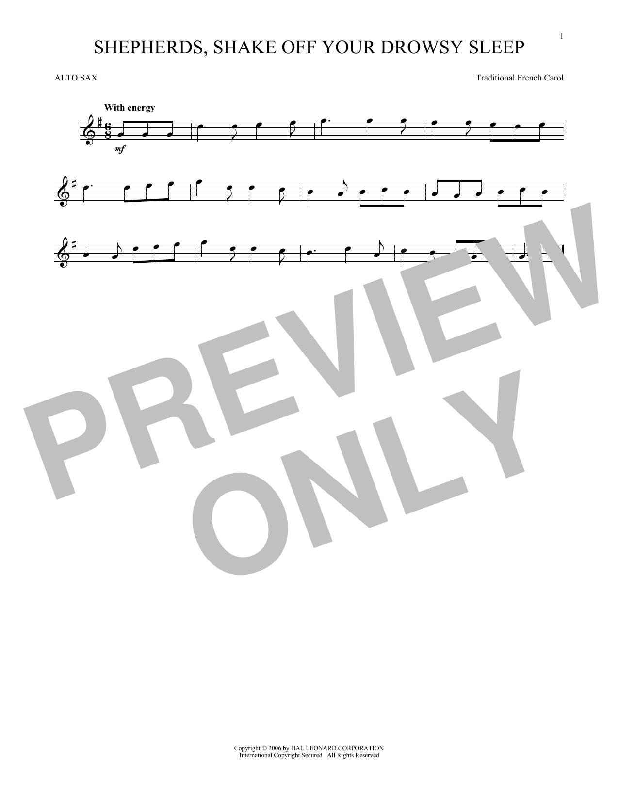 Partition saxophone Shepherds, Shake Off Your Drowsy Sleep de Traditional French Carol - Sax Alto