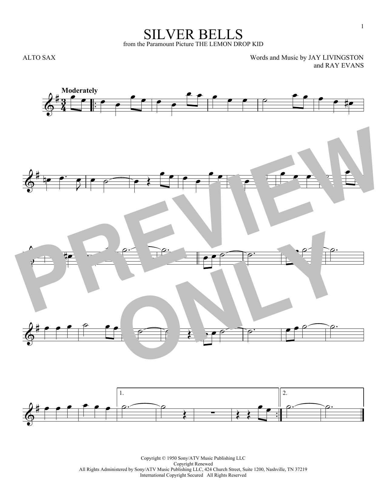 Partition saxophone Silver Bells de Jay Livingston - Sax Alto
