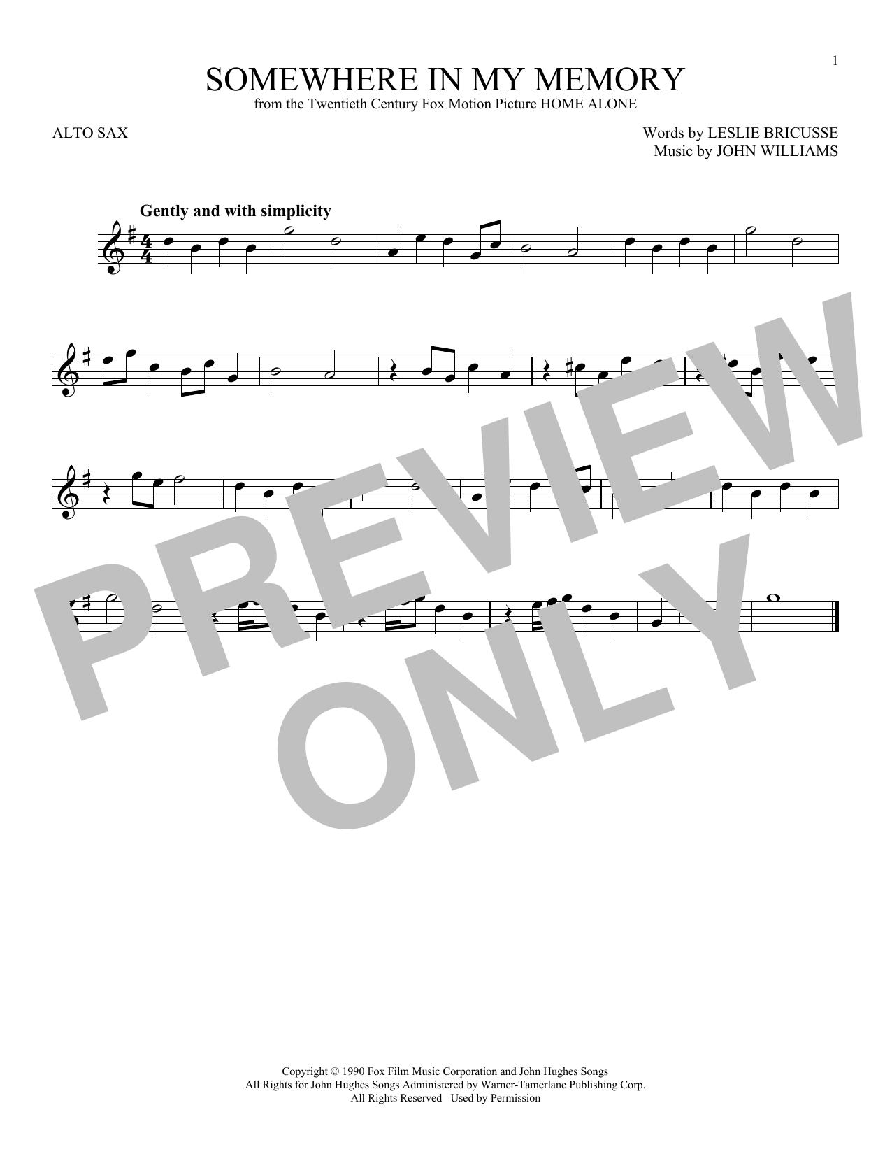 Partition saxophone Somewhere In My Memory de John Williams - Sax Alto