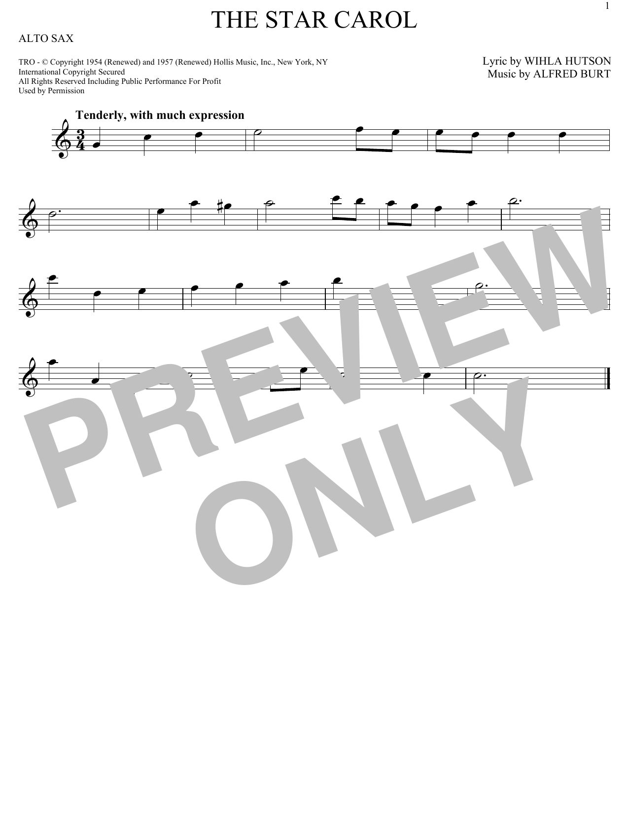 Partition saxophone The Star Carol de Alfred Burt - Sax Alto