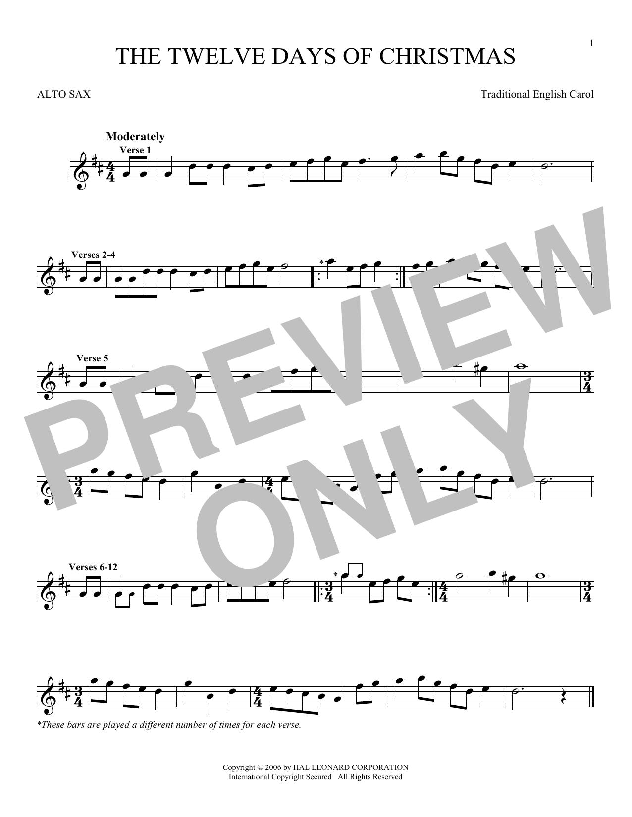 Partition saxophone The Twelve Days Of Christmas de Traditional English Carol - Sax Alto