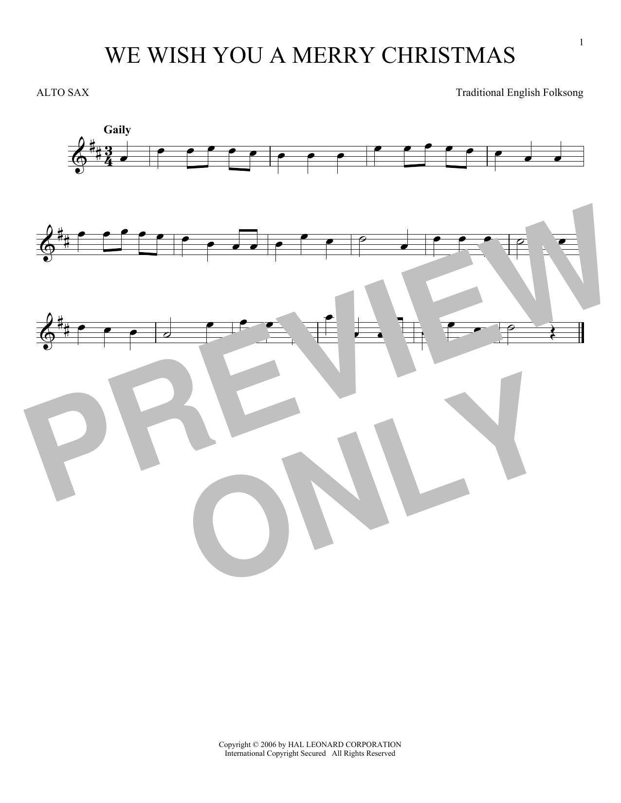 Partition saxophone We Wish You A Merry Christmas de Christmas Carol - Sax Alto