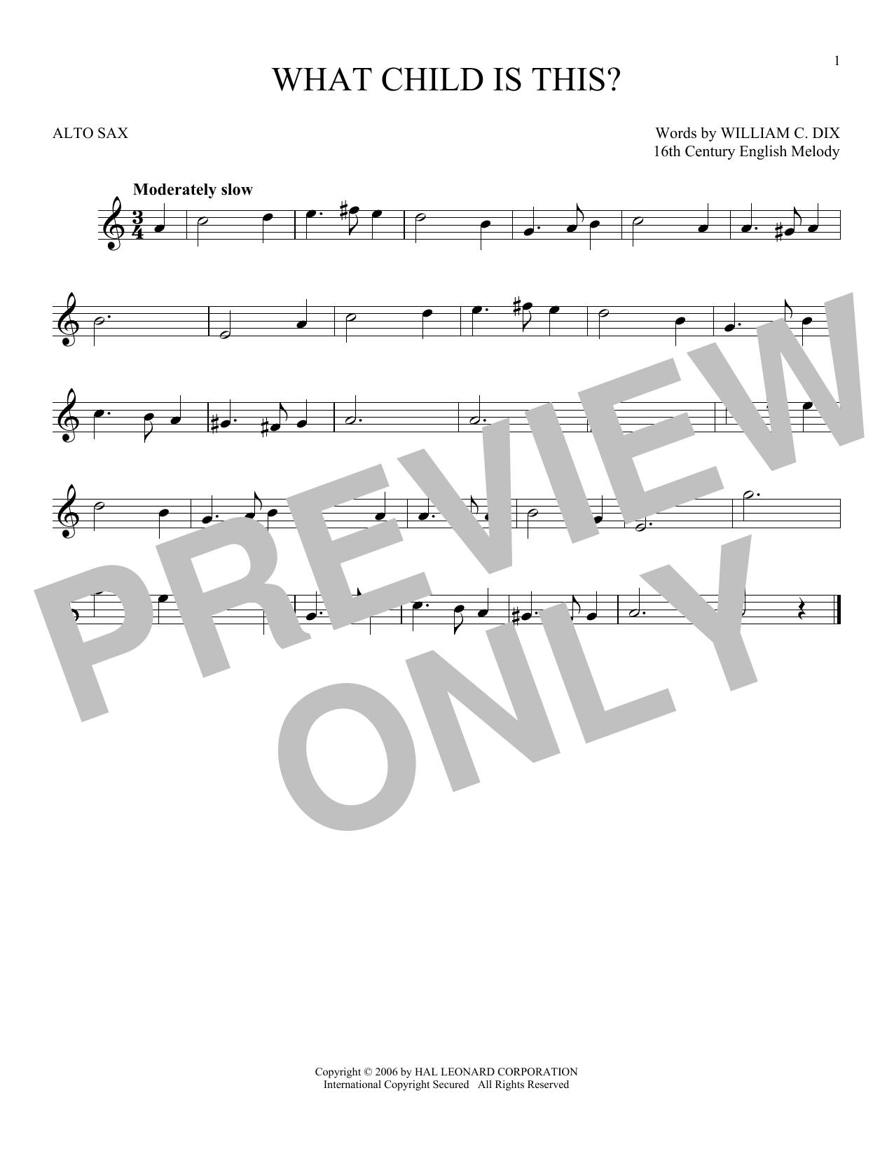 Partition saxophone What Child Is This? de William C. Dix - Sax Alto