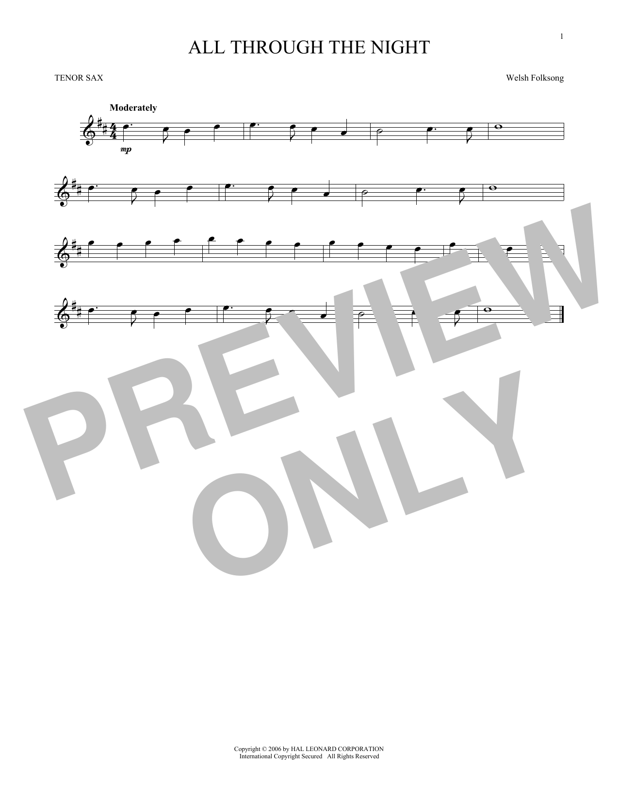 Partition saxophone All Through The Night de Welsh Folksong - Sax Tenor