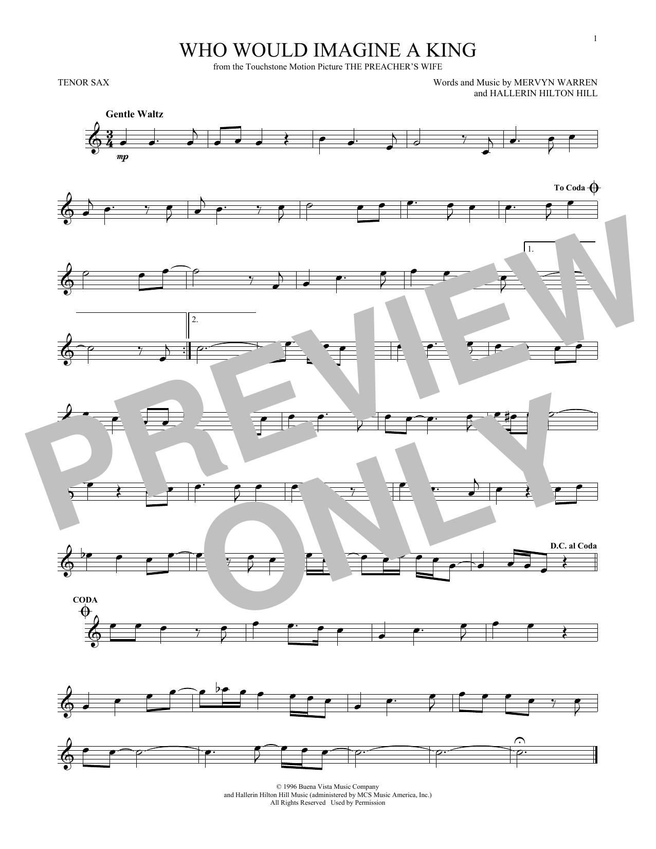 Partition saxophone Who Would Imagine A King de Whitney Houston - Sax Tenor