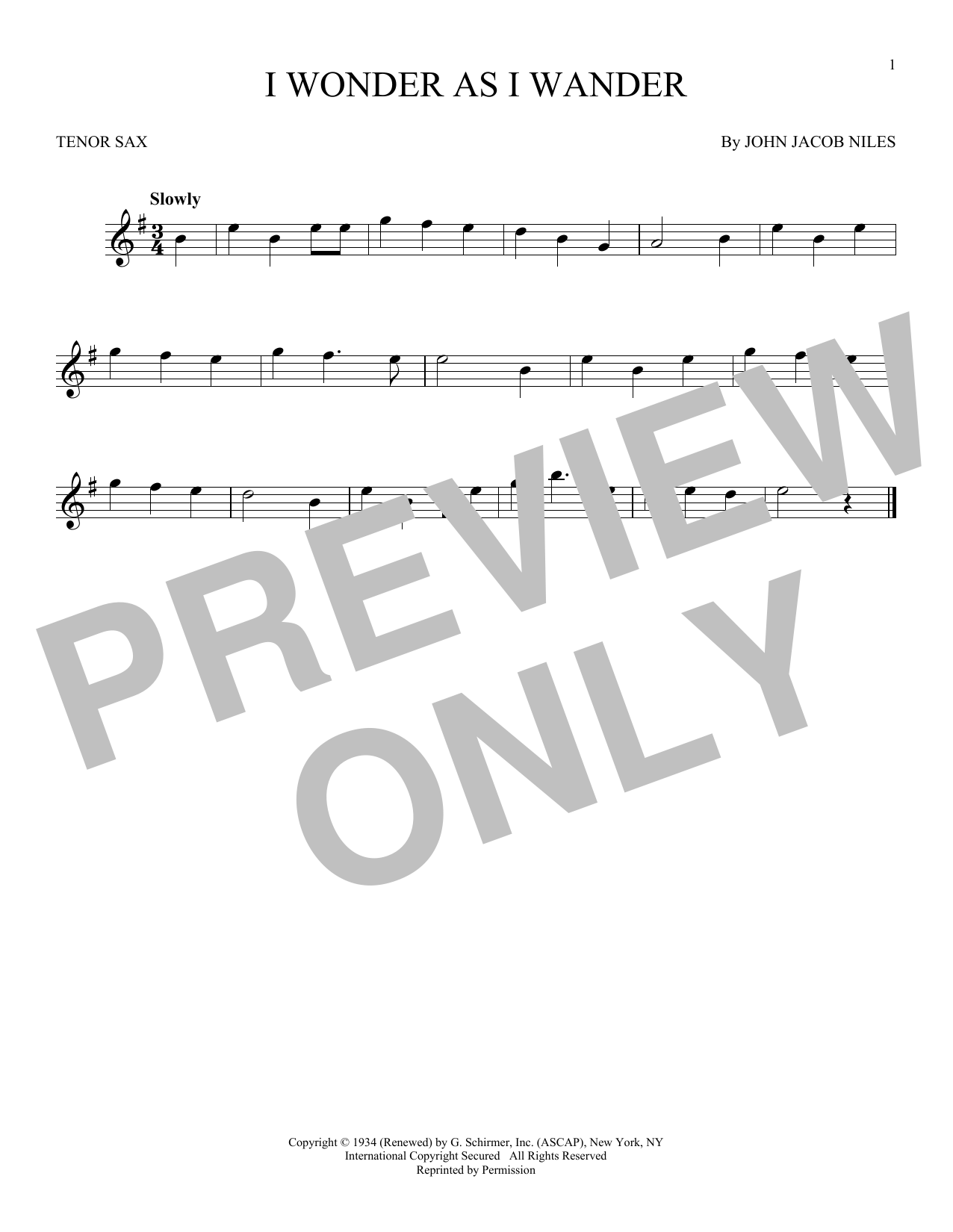 Partition saxophone I Wonder As I Wander de John Jacob Niles - Sax Tenor
