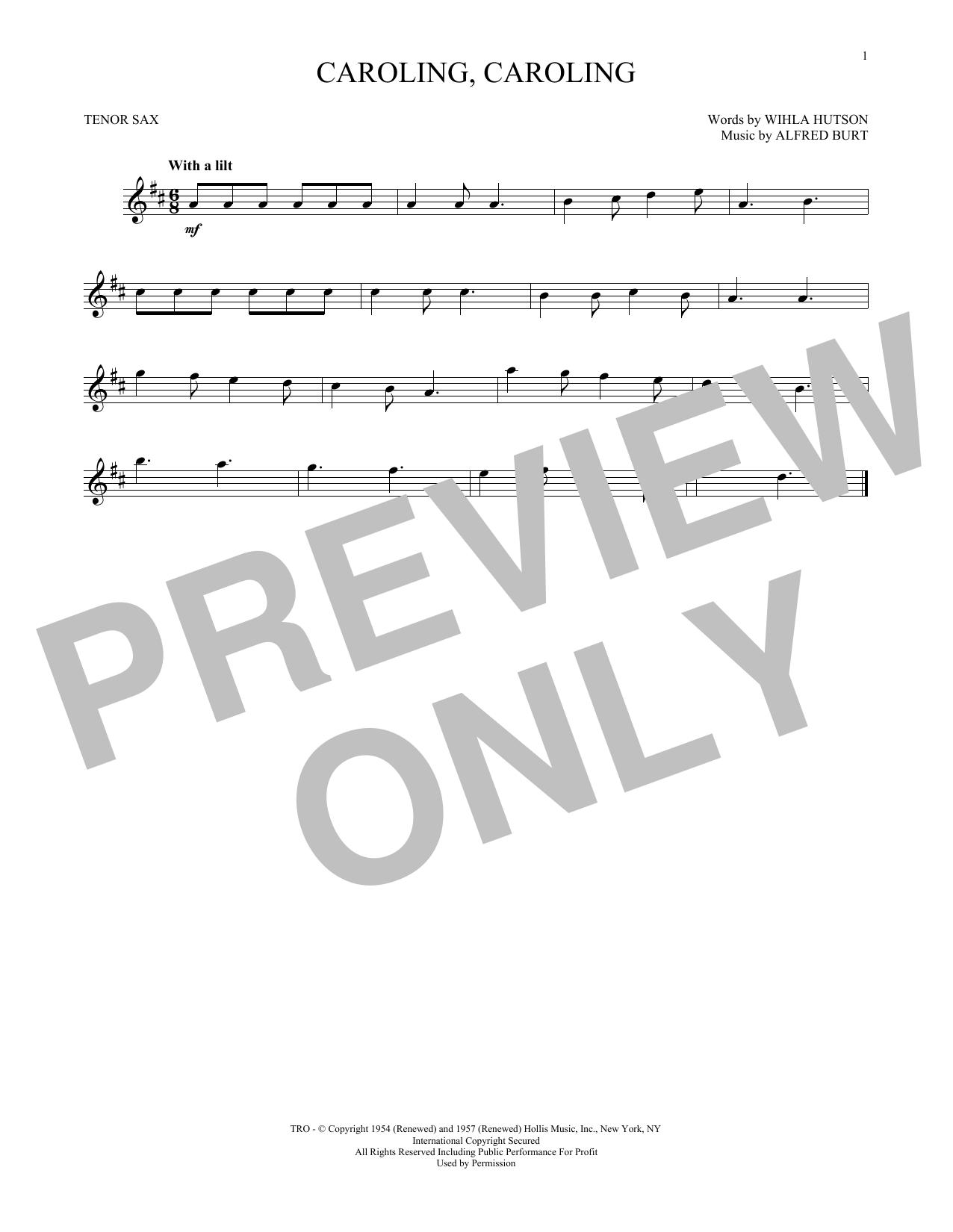 Partition saxophone Caroling, Caroling de Alfred Burt - Sax Tenor