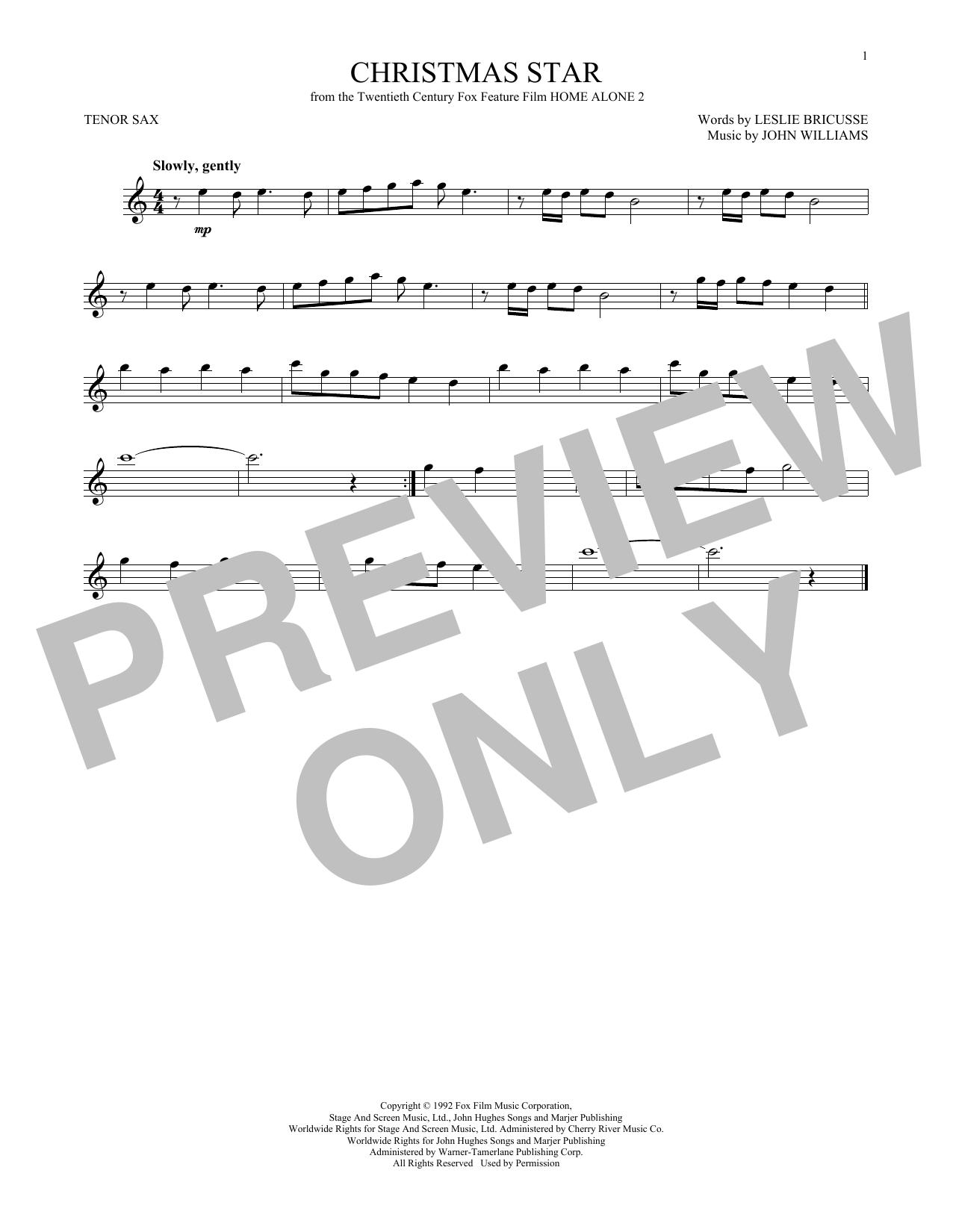 Partition saxophone Christmas Star de John Williams - Sax Tenor