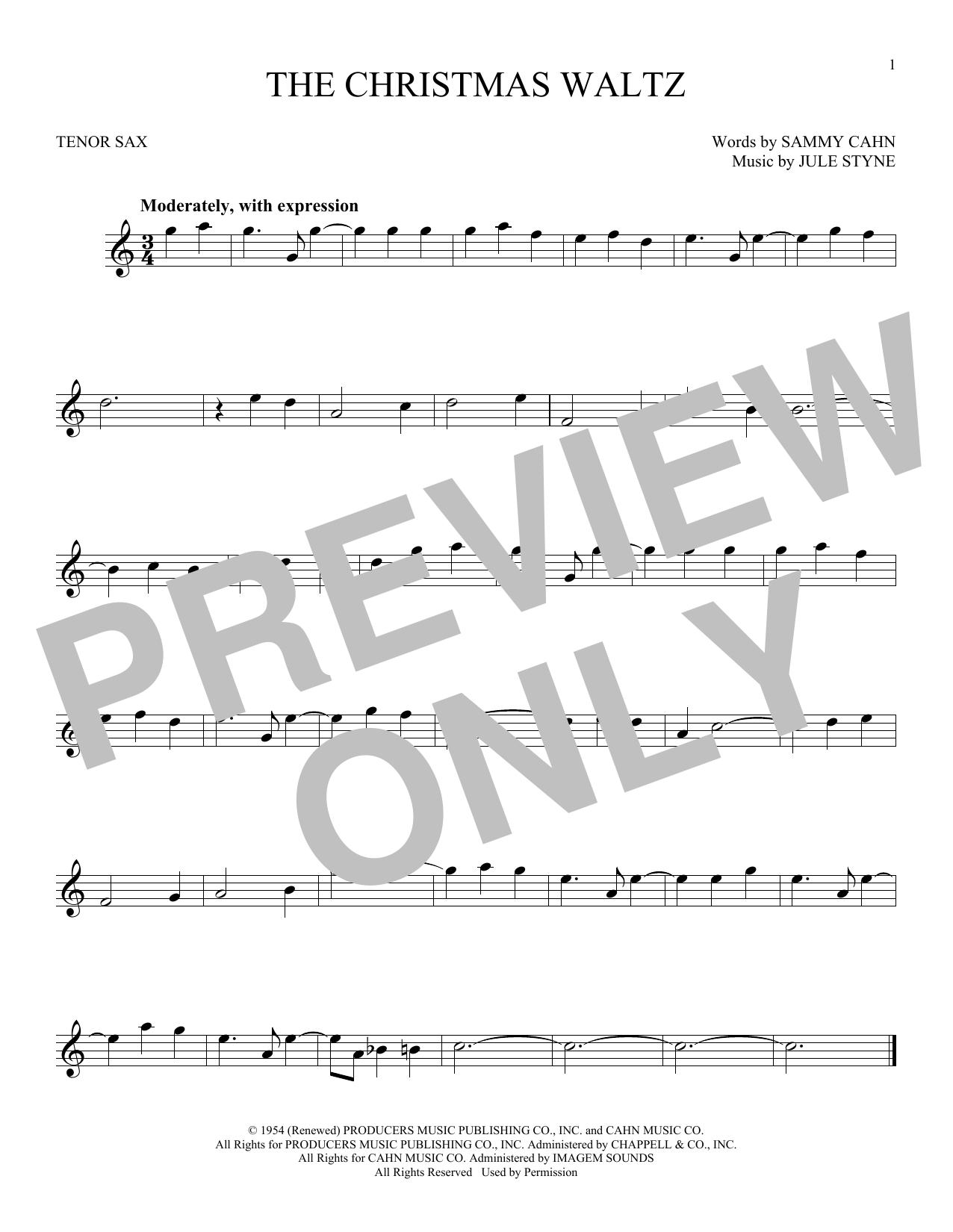 Partition saxophone The Christmas Waltz de Frank Sinatra - Sax Tenor