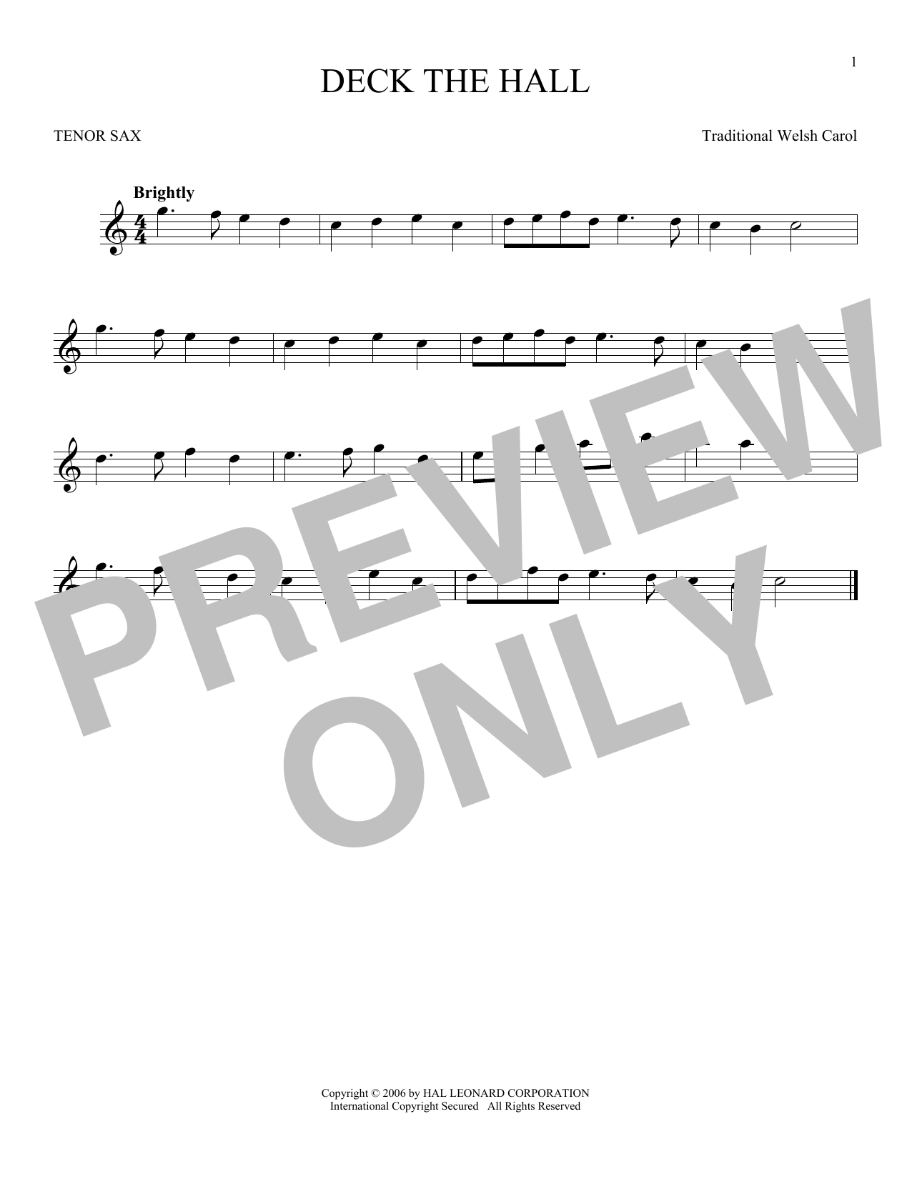 Partition saxophone Deck The Hall de Christmas Carol - Sax Tenor
